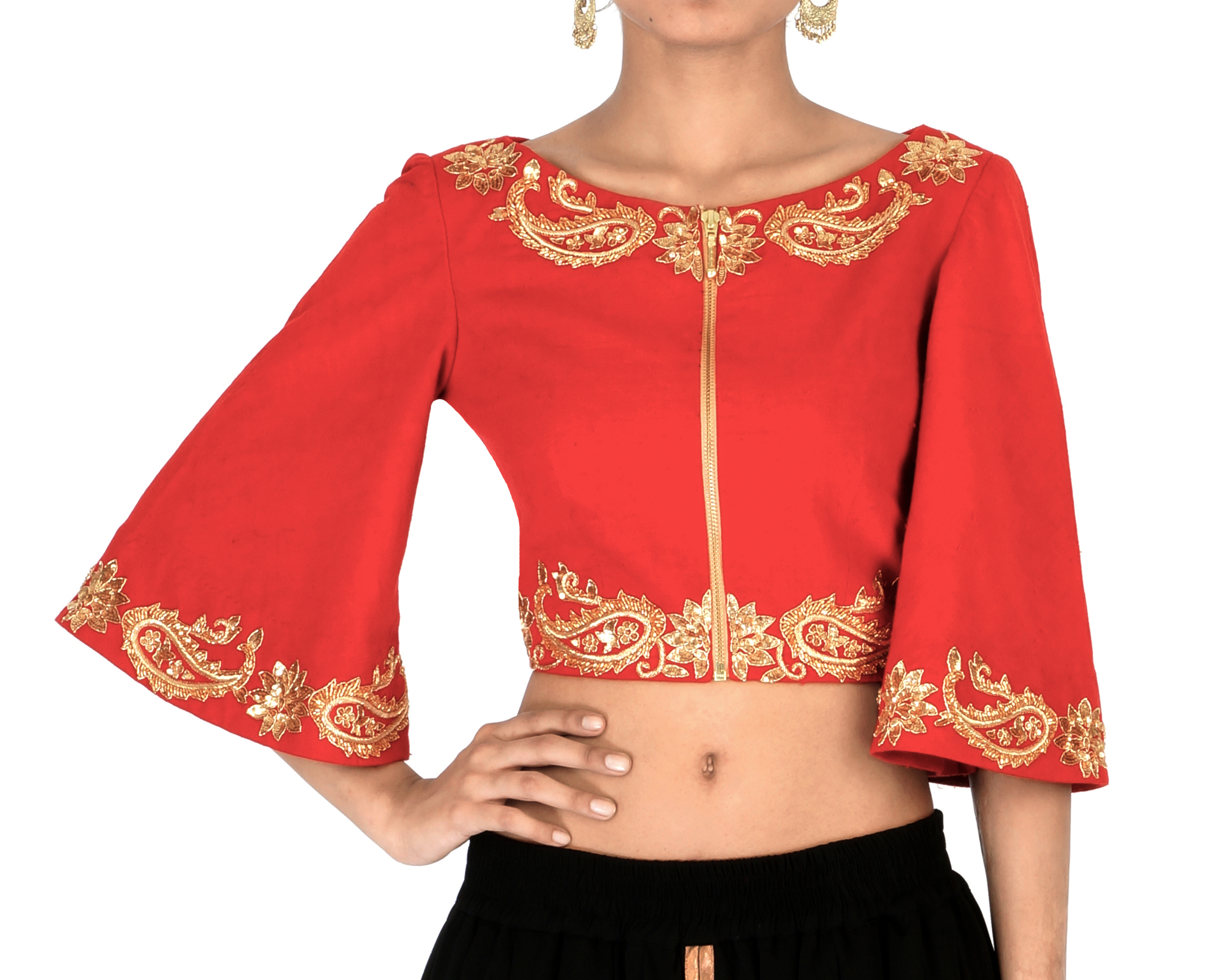 9411911e641 Red bell sleeves embroidered crop top by Shilpa Reddy   The Secret Label