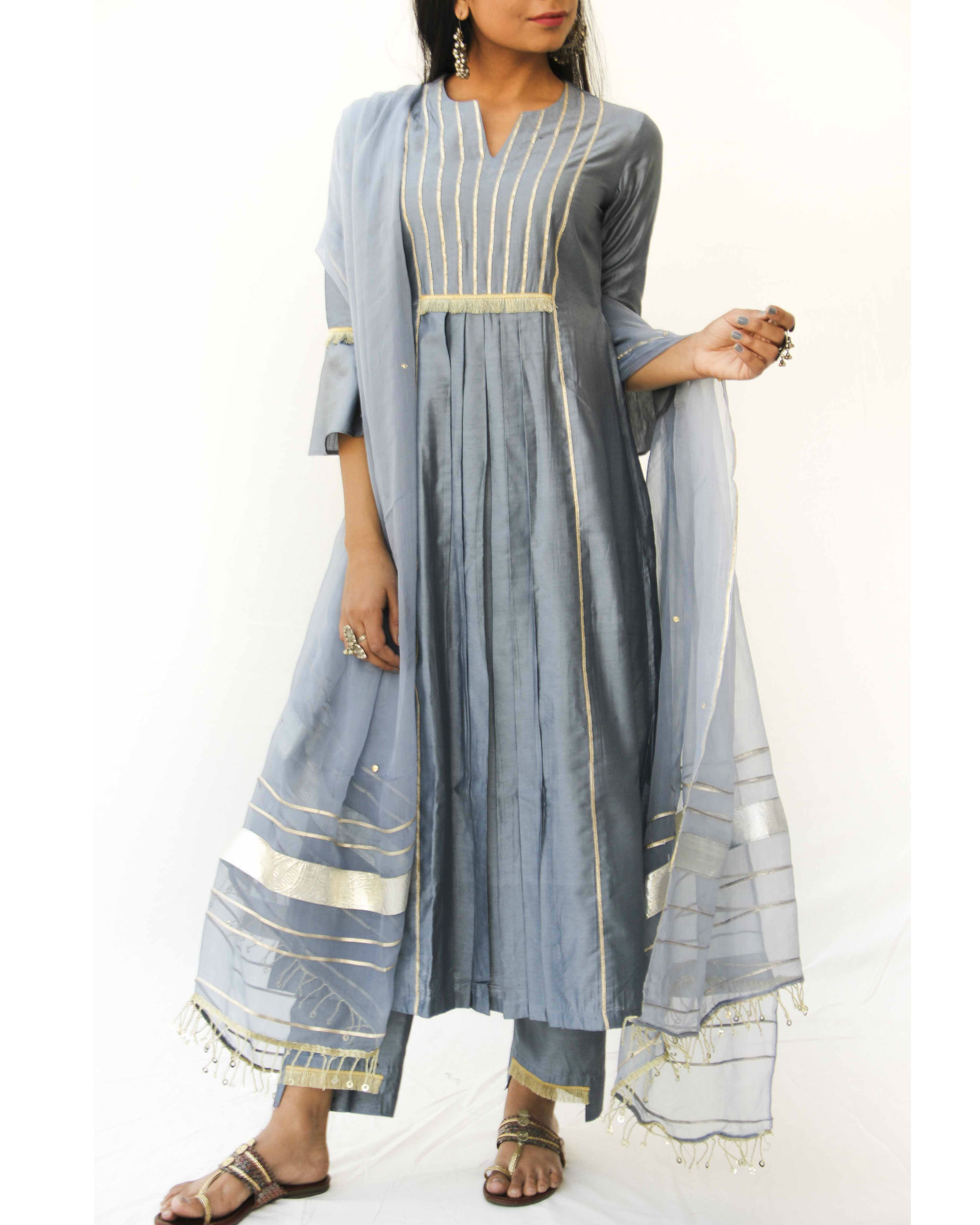 Grey chanderi trio set