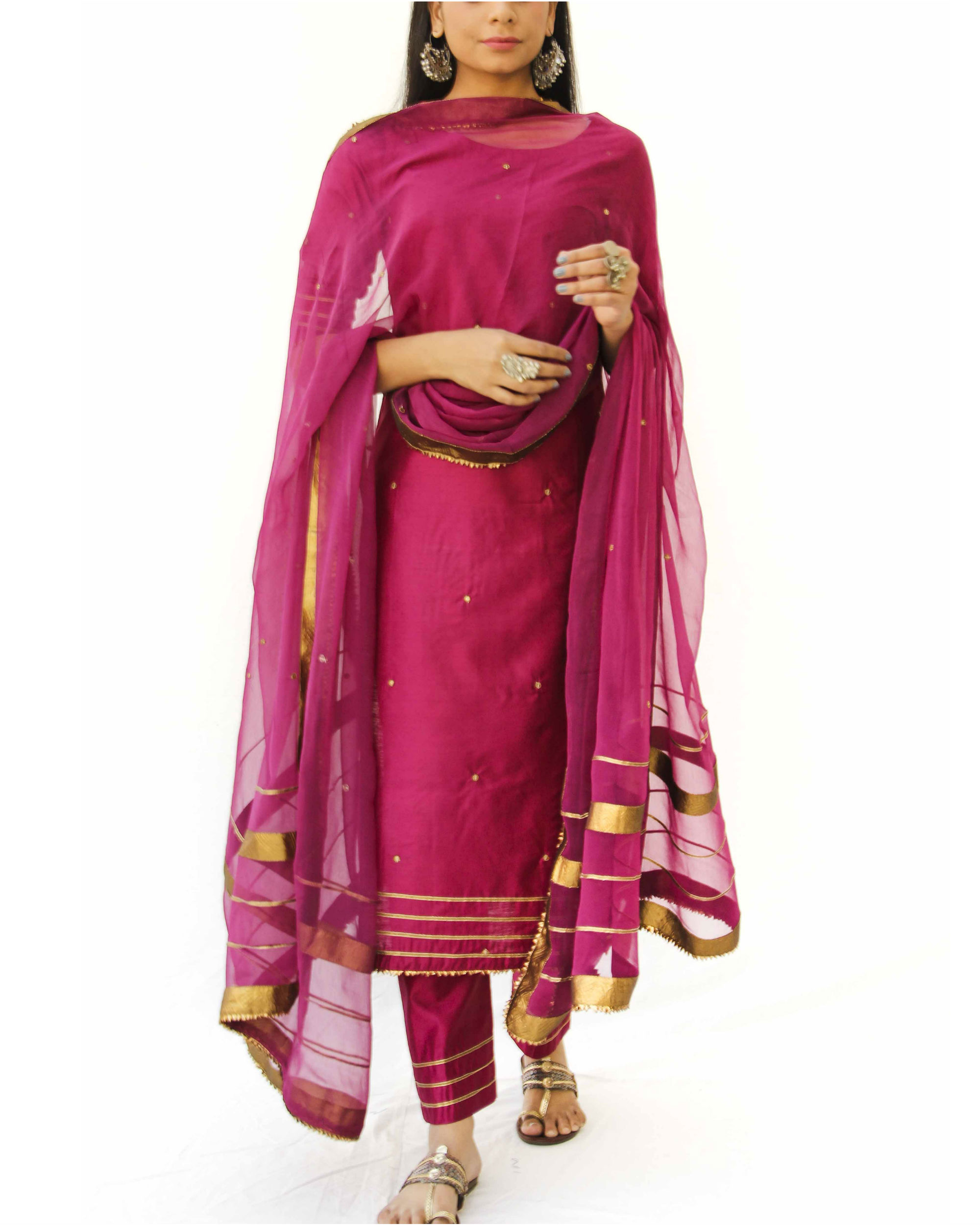 Wine straight kurta, pant and dupatta set