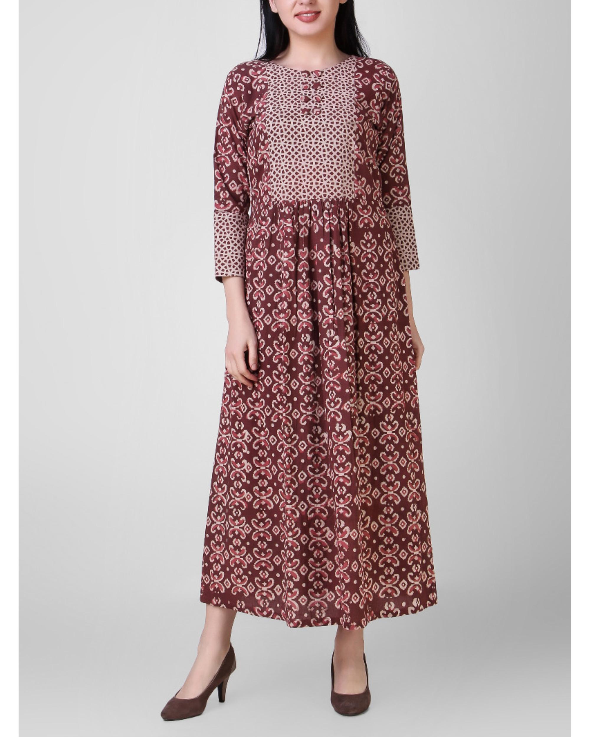 Rust dabu-printed cotton dress