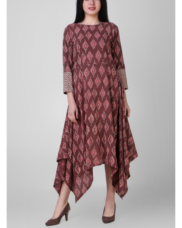 Rust dabu assymetrical dress
