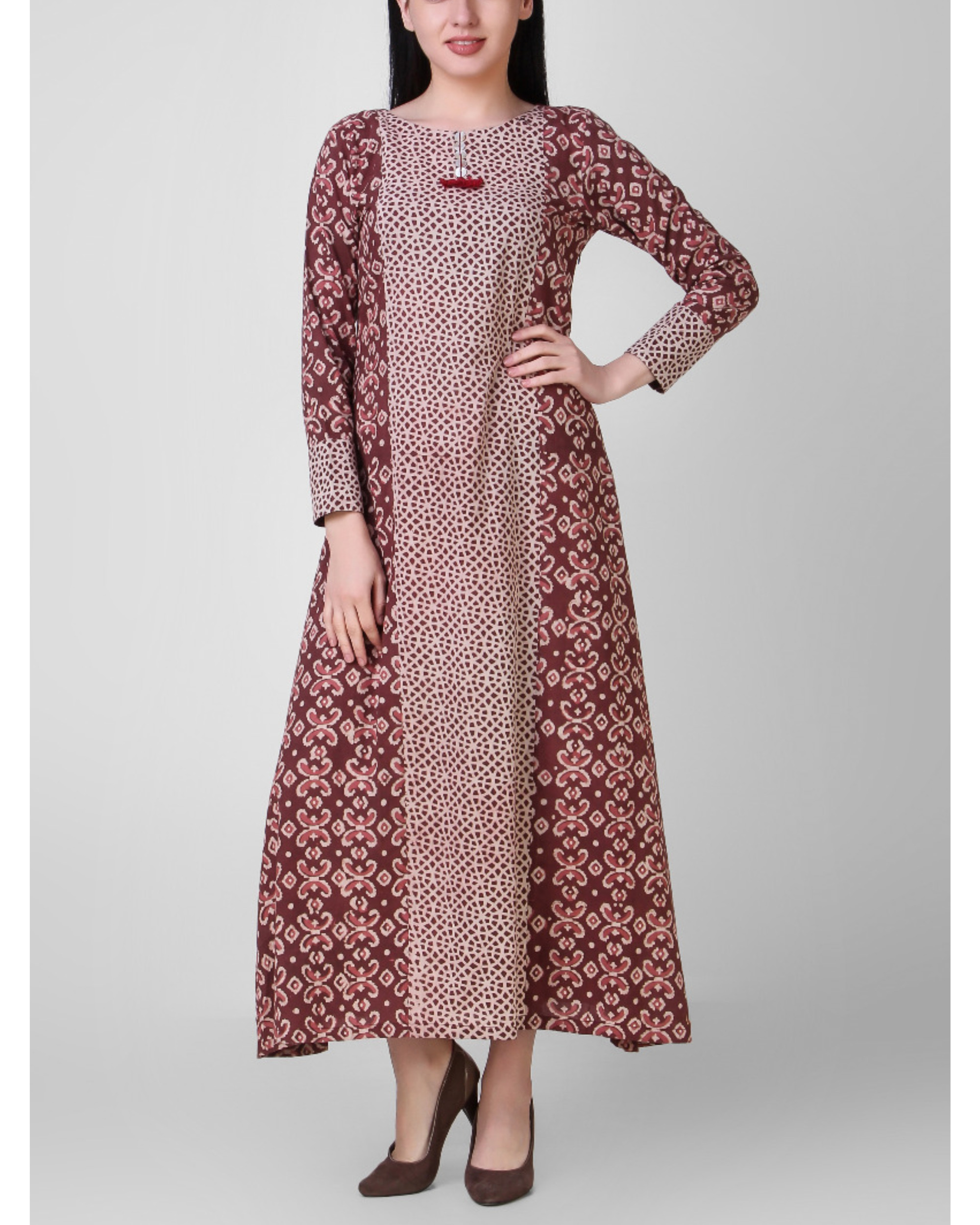 Tasseled rust dabu dress