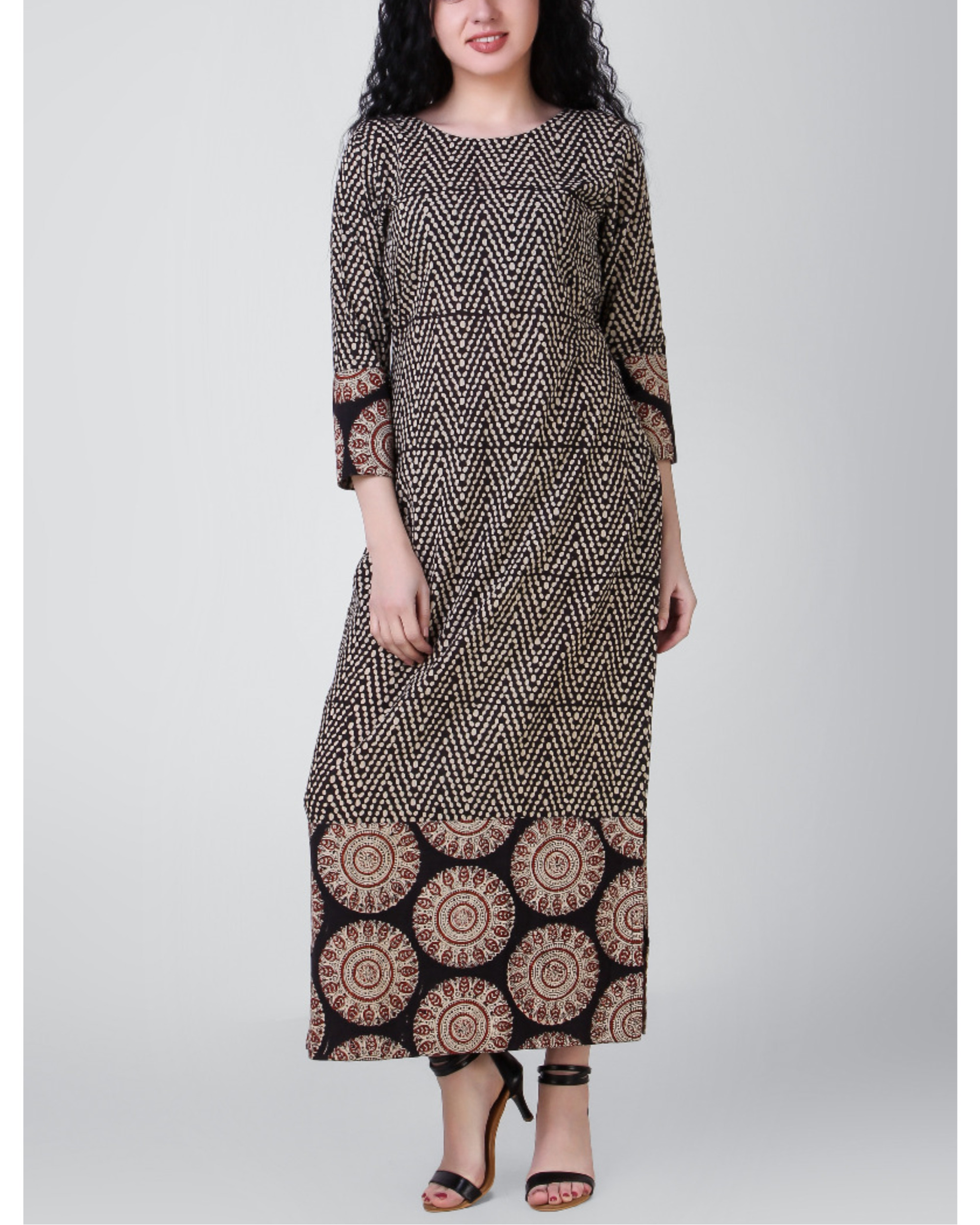 Black-beige block-printed patch dress