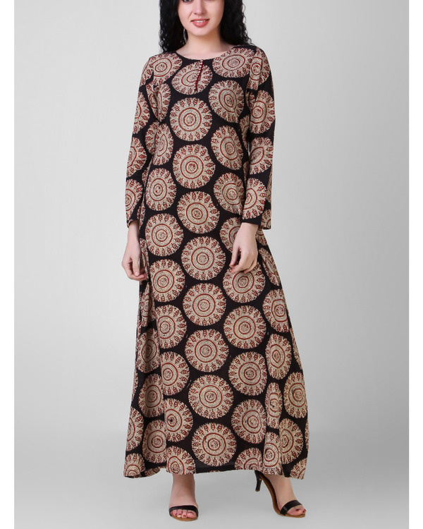 Overall block-printed cotton dress