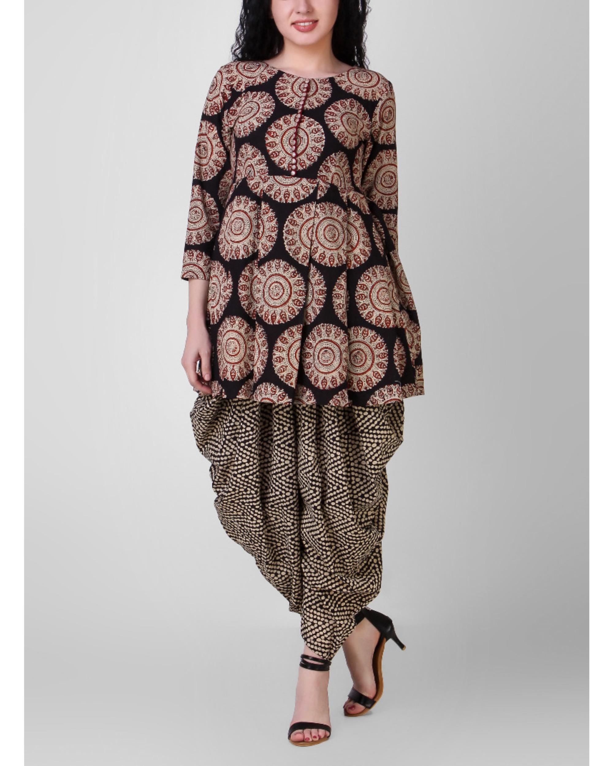 4d012756951 Black-beige kurta with dhoti pants by Simply Kitsch
