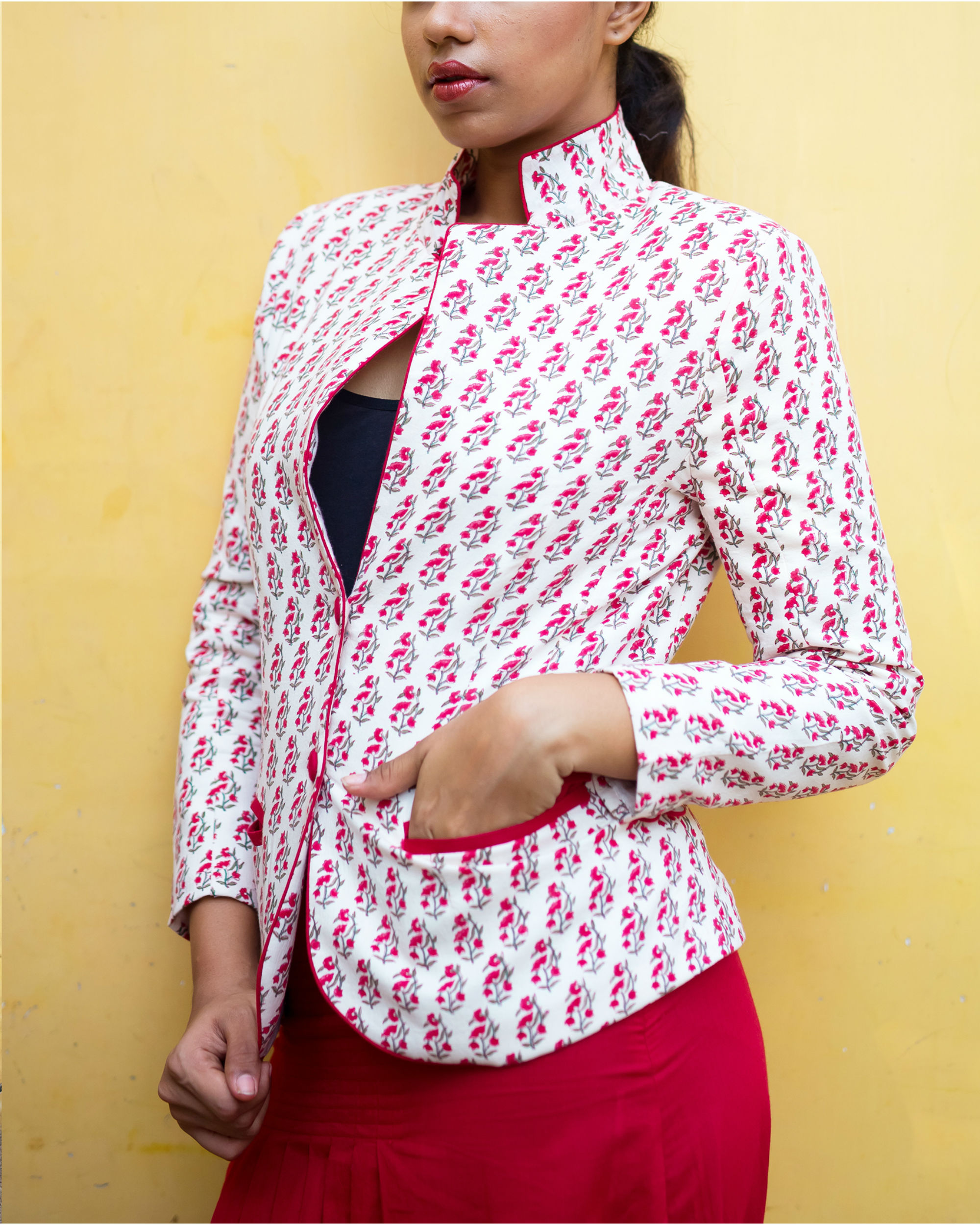 Block print floral blazer