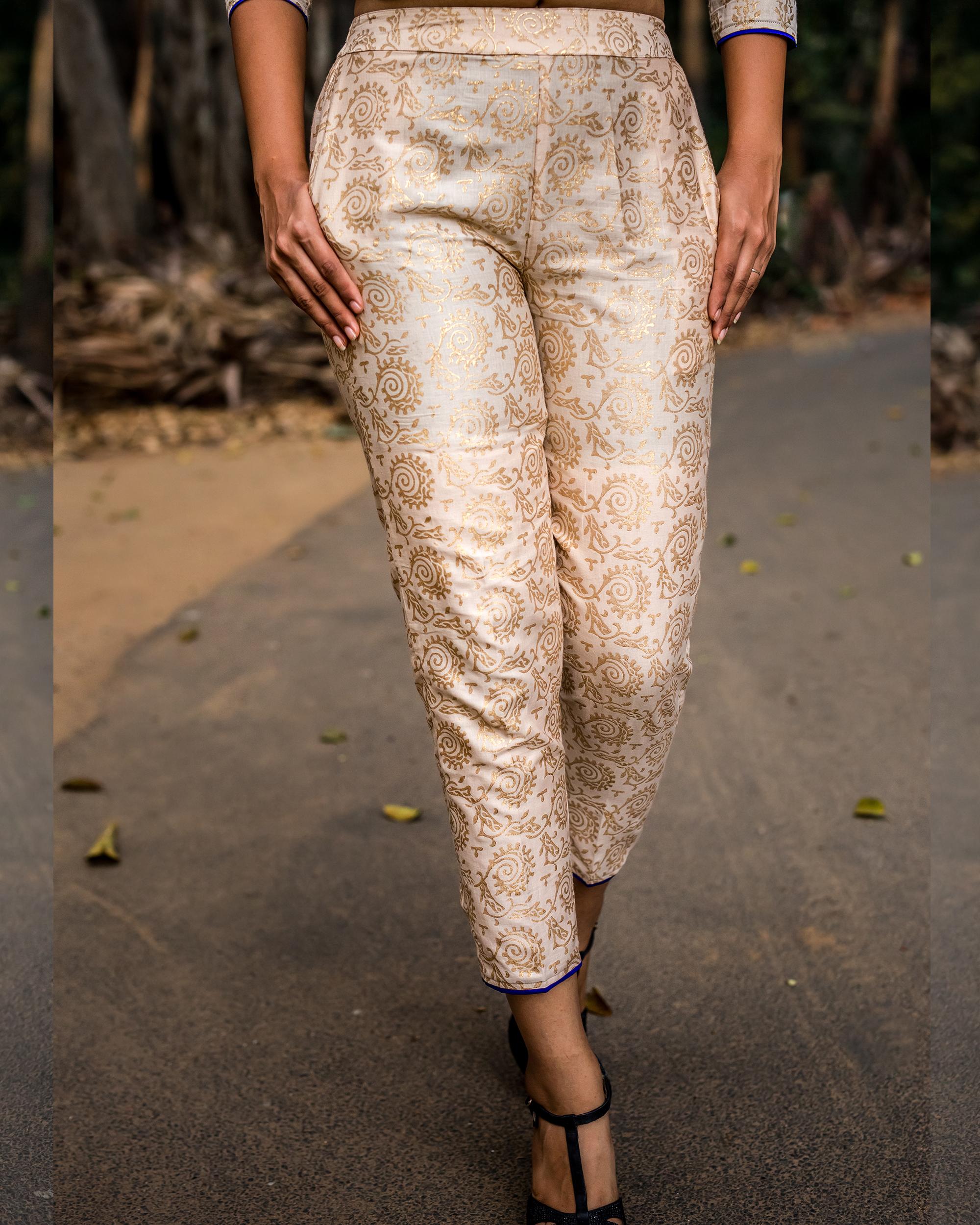 Gold print royal pants