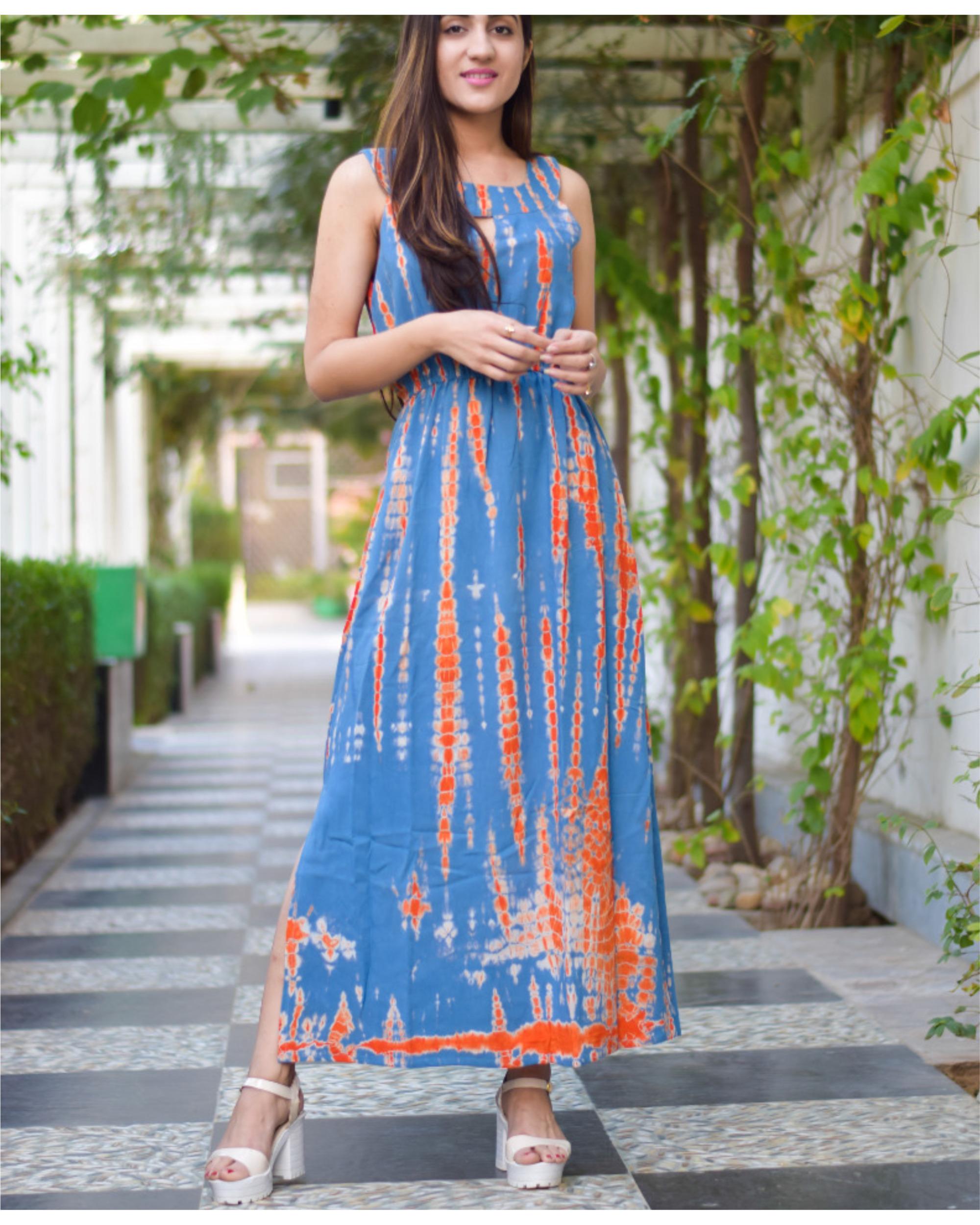 Orange blue long tie dye dress
