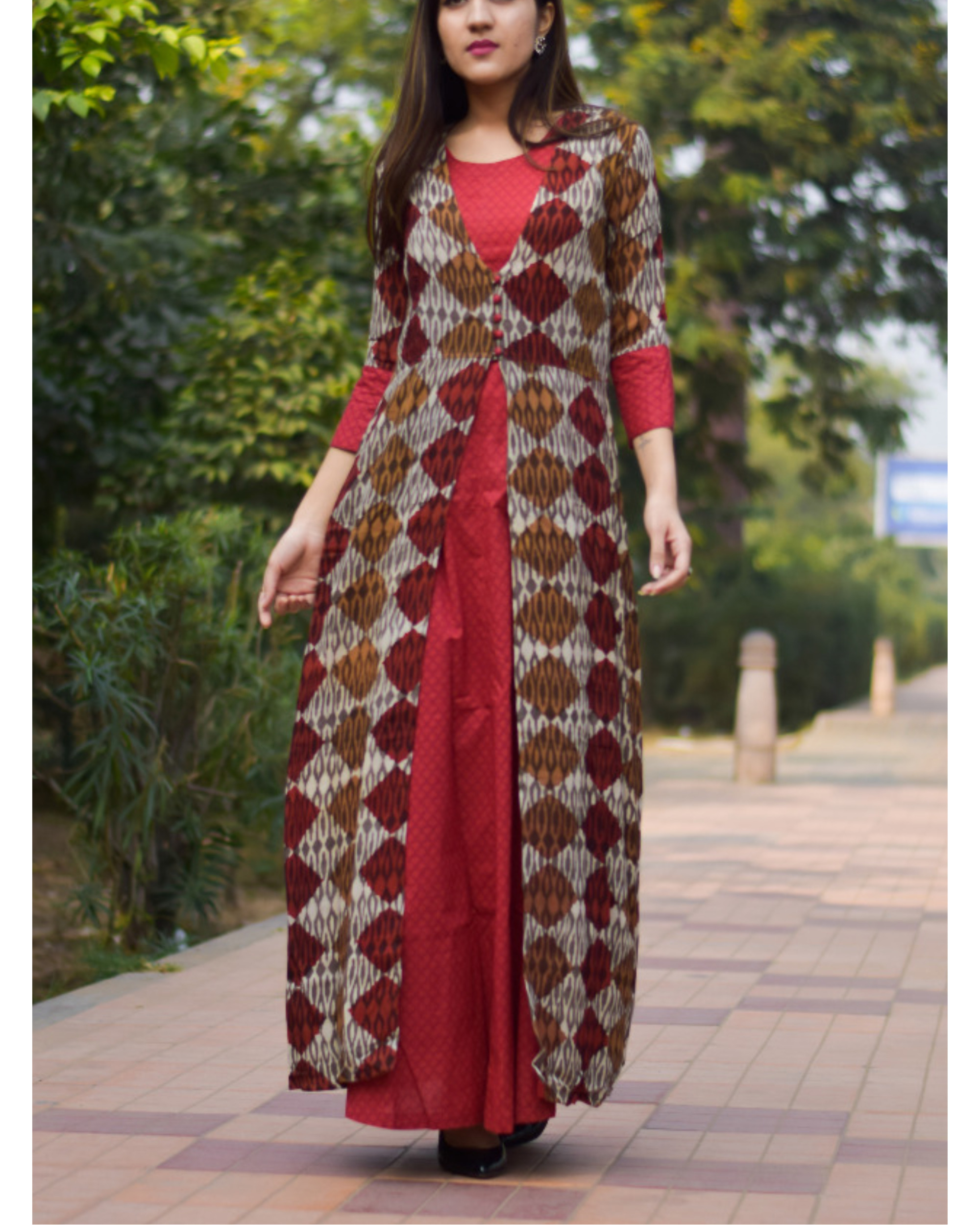 Block printed double layered dress