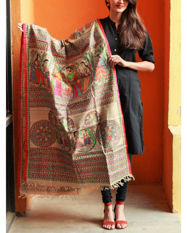 Madhubani All over multi colored tussar silk dupatta
