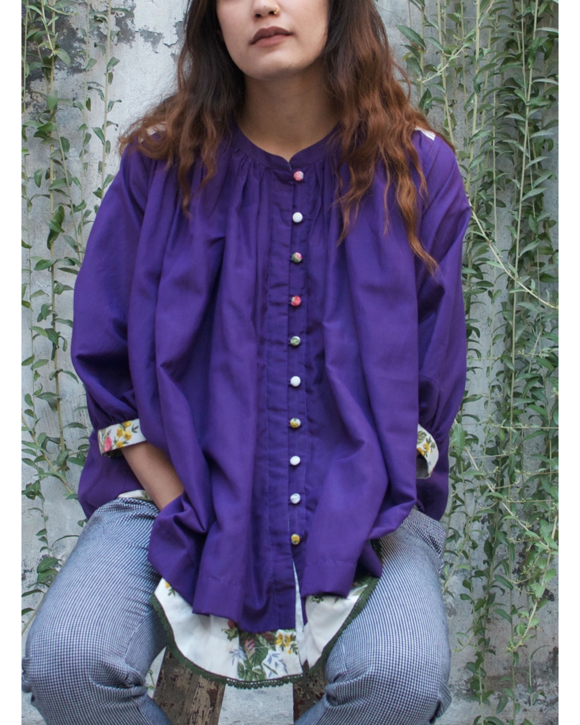 Whimsical violet peasant top