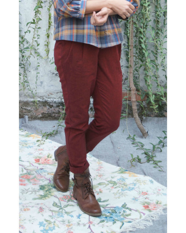 Deep marsala peasant pants