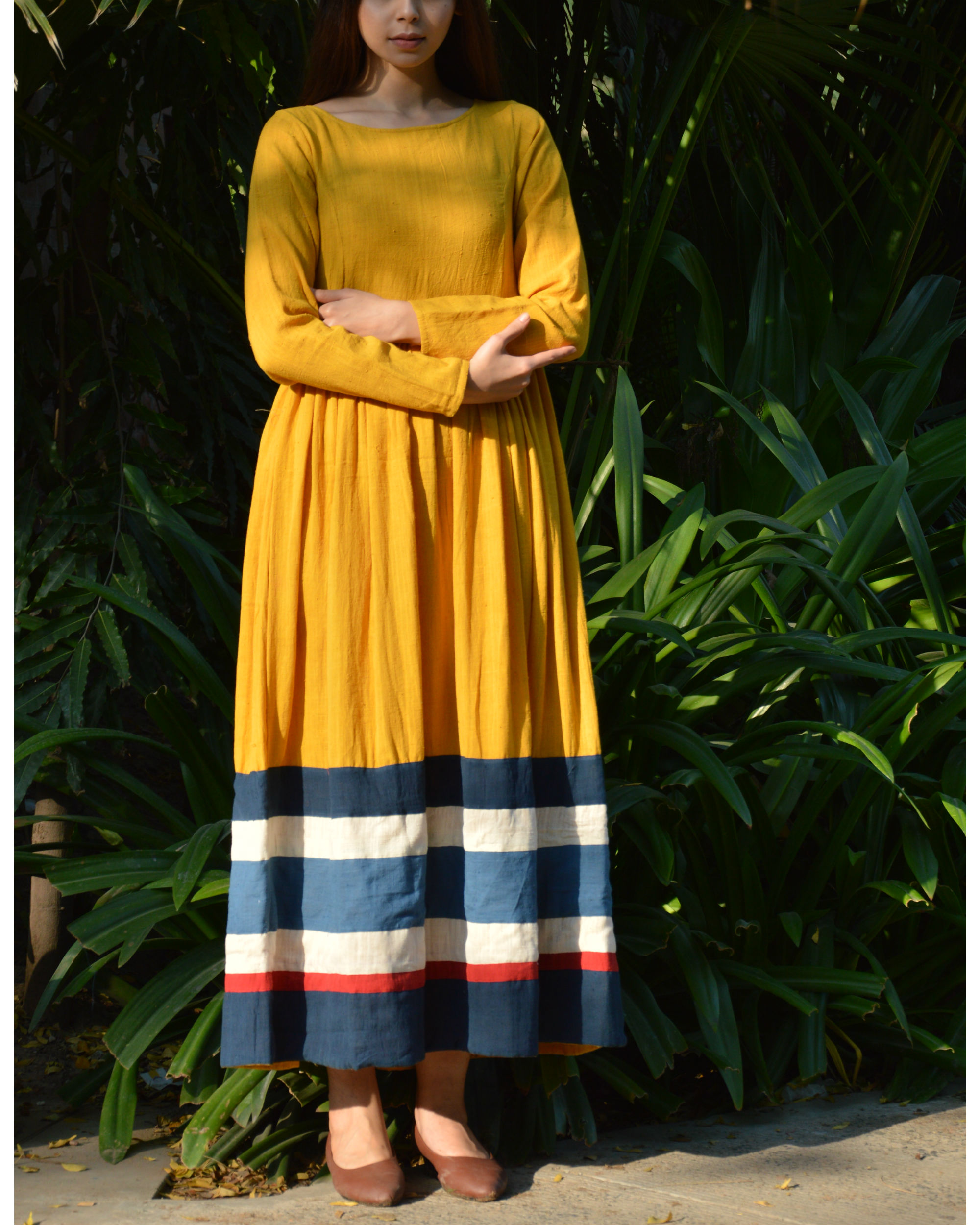 Mustard multicolor border gathered maxi dress