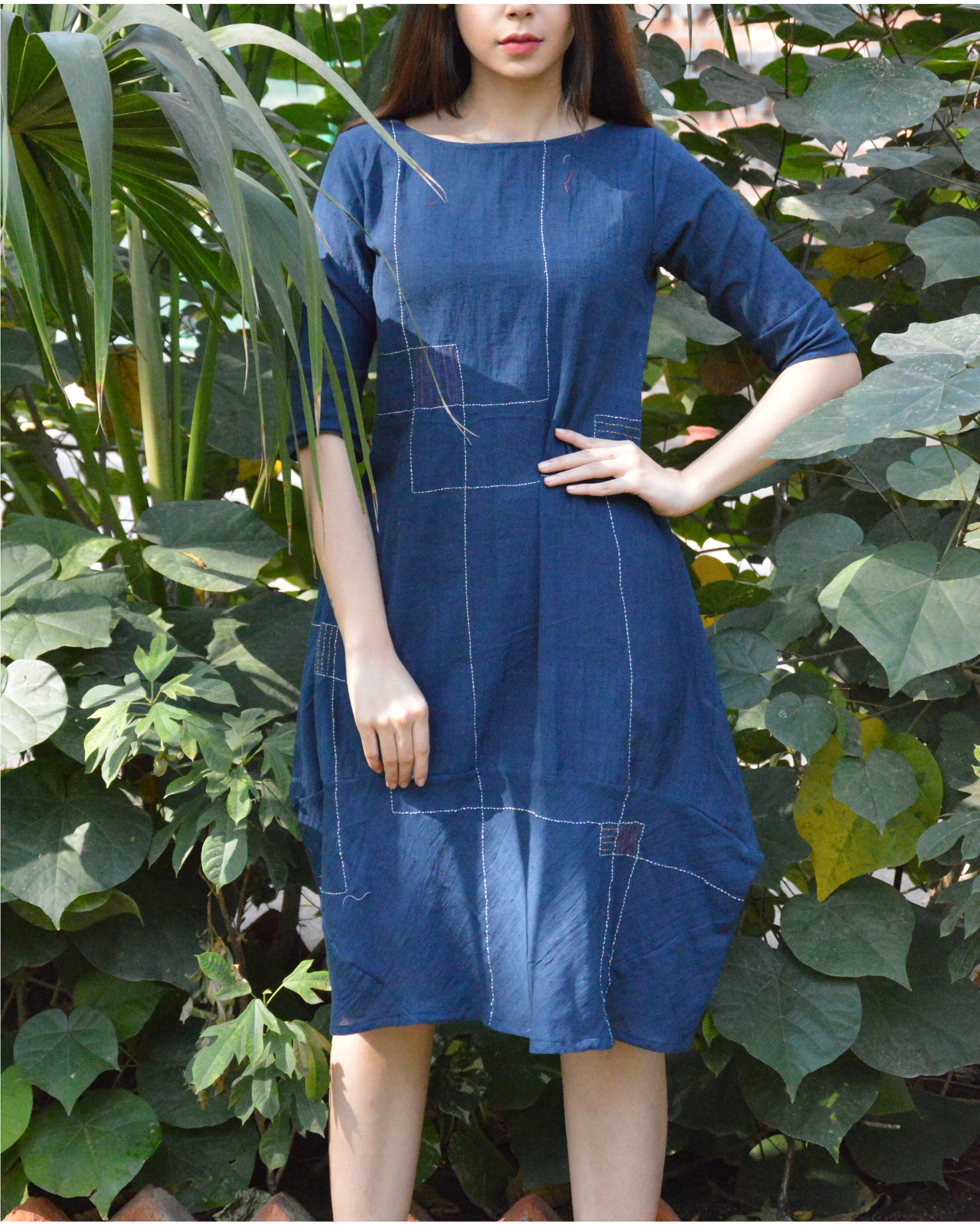 Indigo cocoon tunic with line embroidery