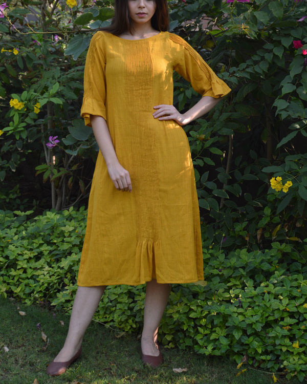 Mustard pin tucks tunic