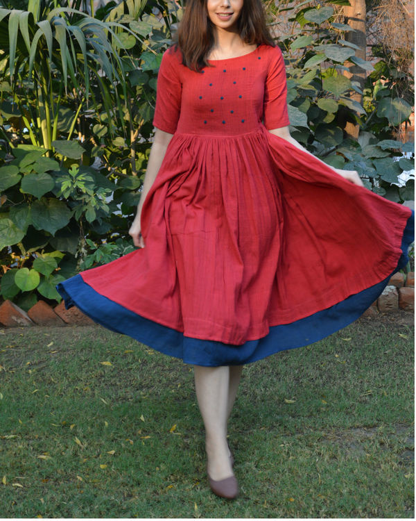 Red indigo layer frock with polka applique