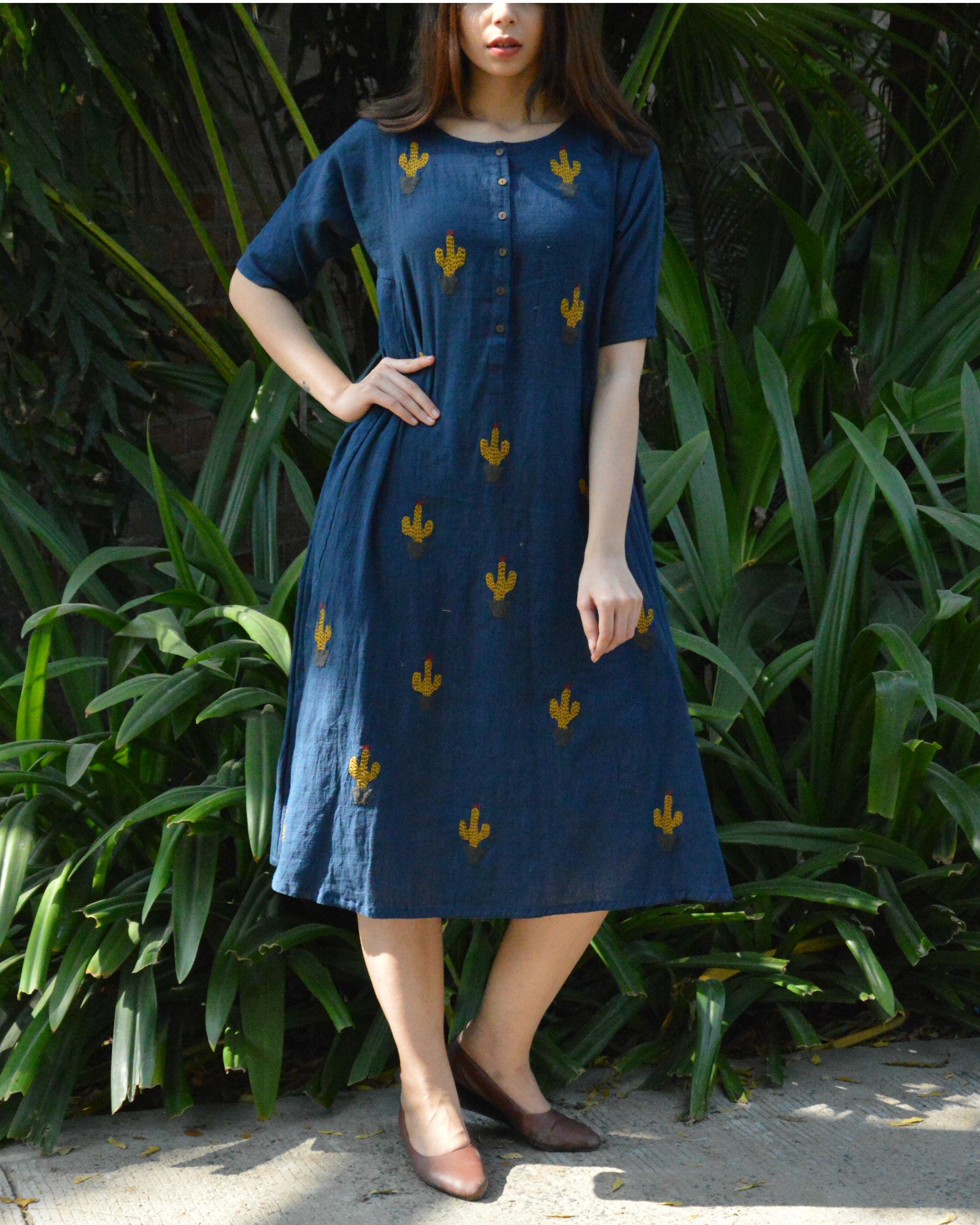 Indigo cactus applique dress