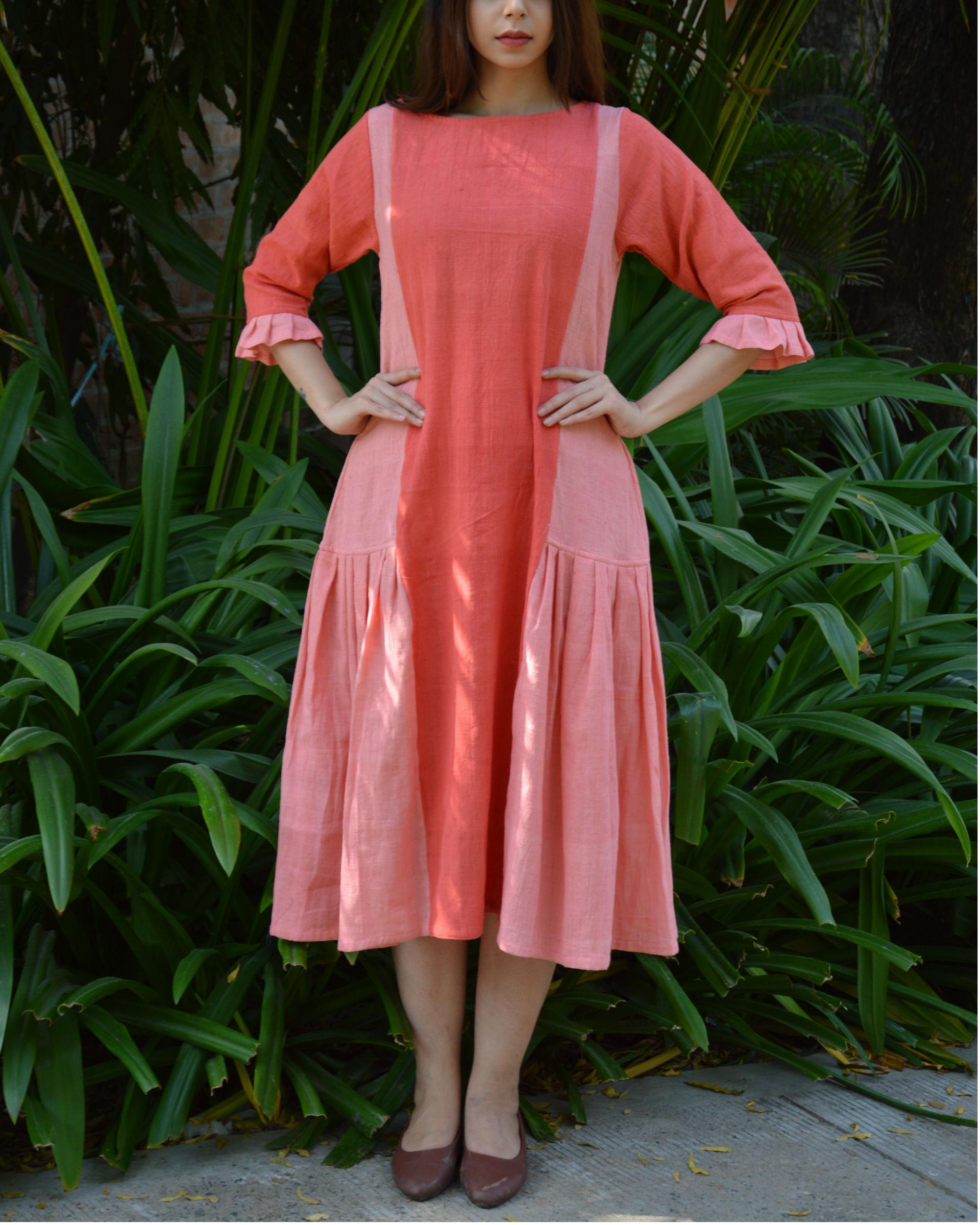 Peach pink pleated panel tunic