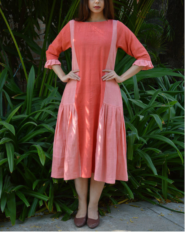 Peach pink pleated panel tunic