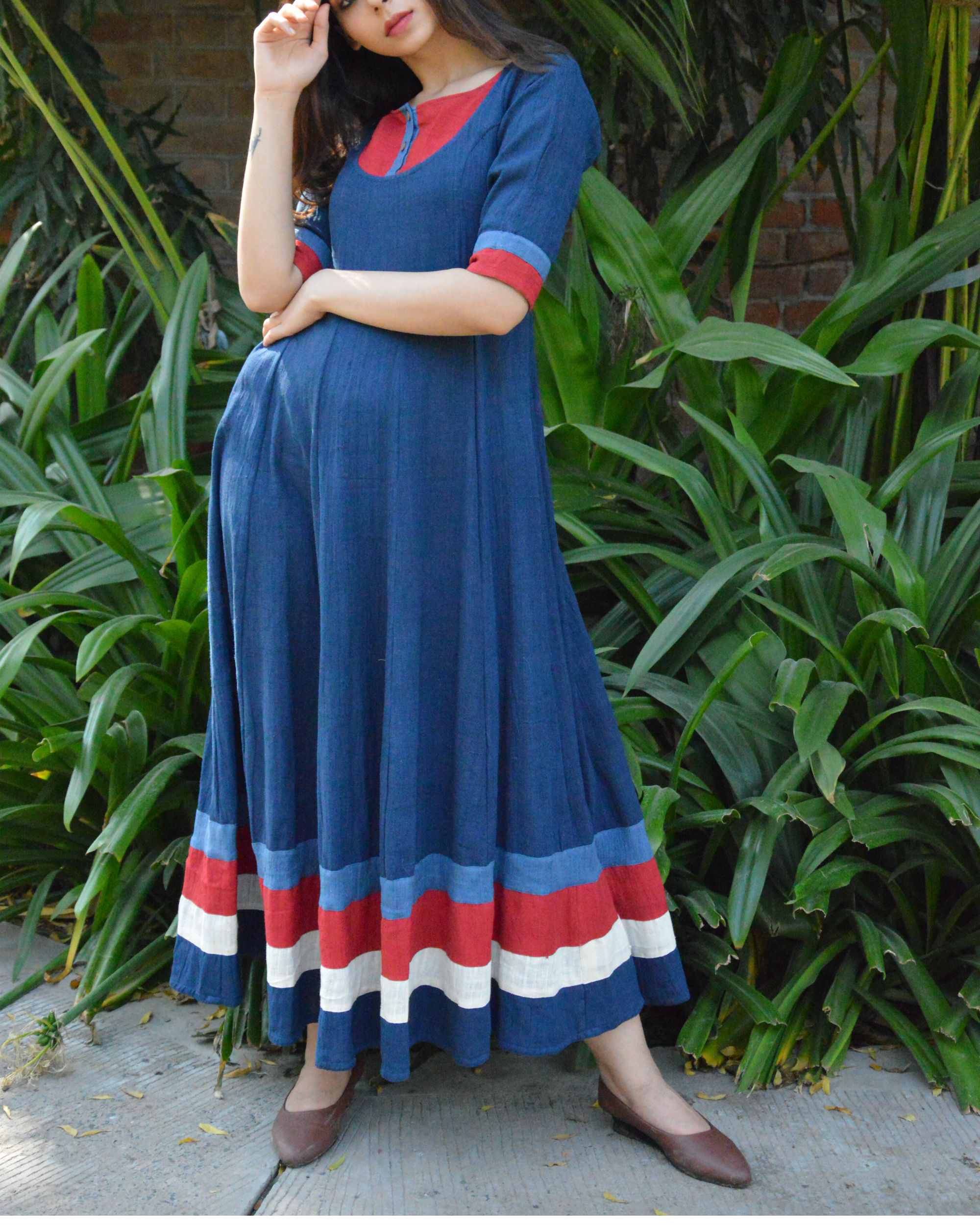 Indigo flared maxi with red yoke and borders