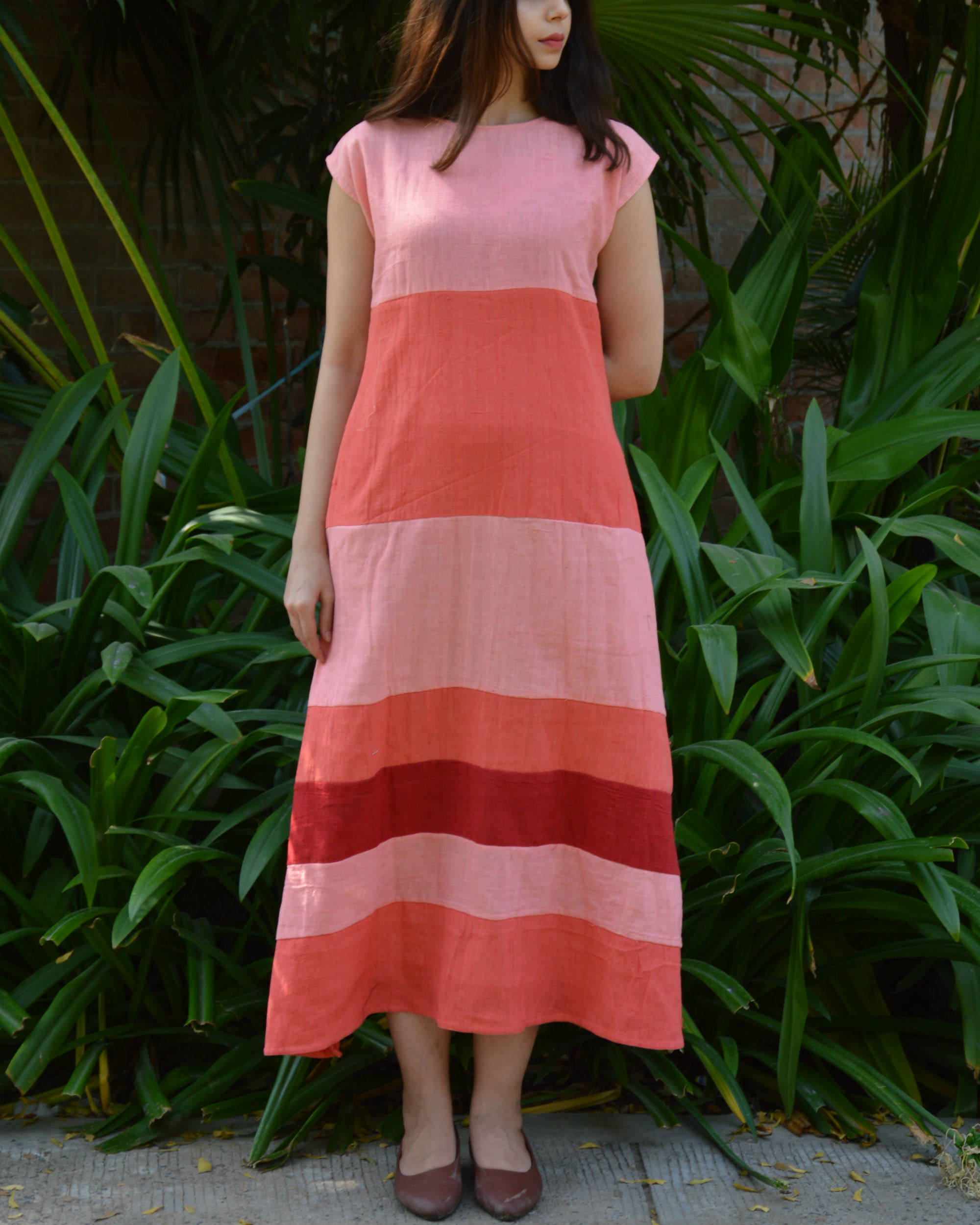 Peach pink color block drop shoulder maxi dress