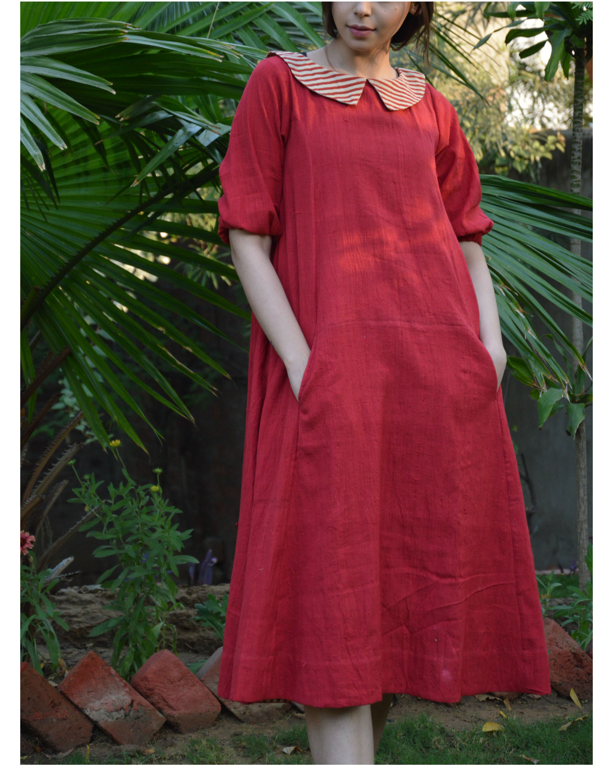 Red back placket tunic with in seam pockets