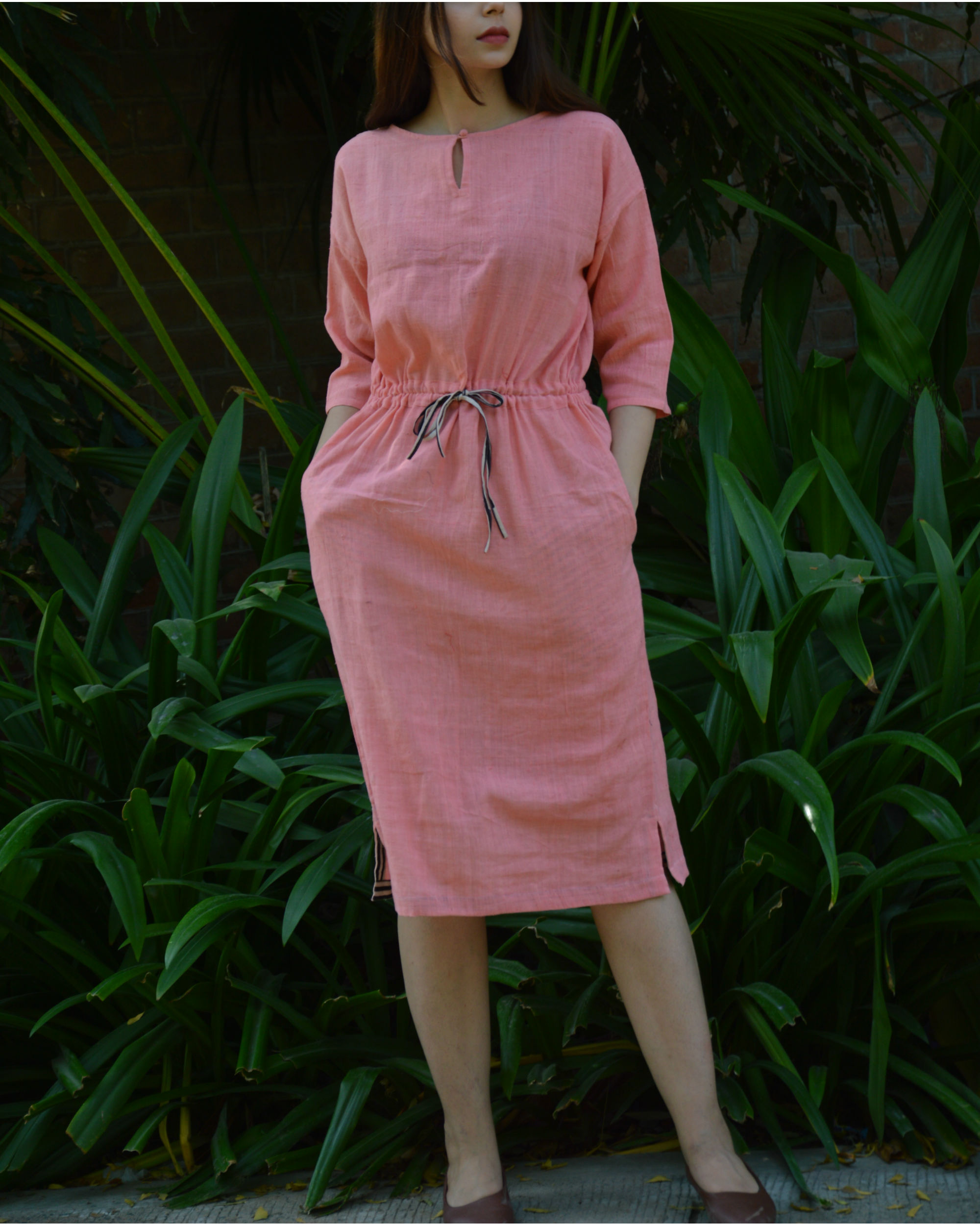 Pink anti-fit tunic with drawstring waist