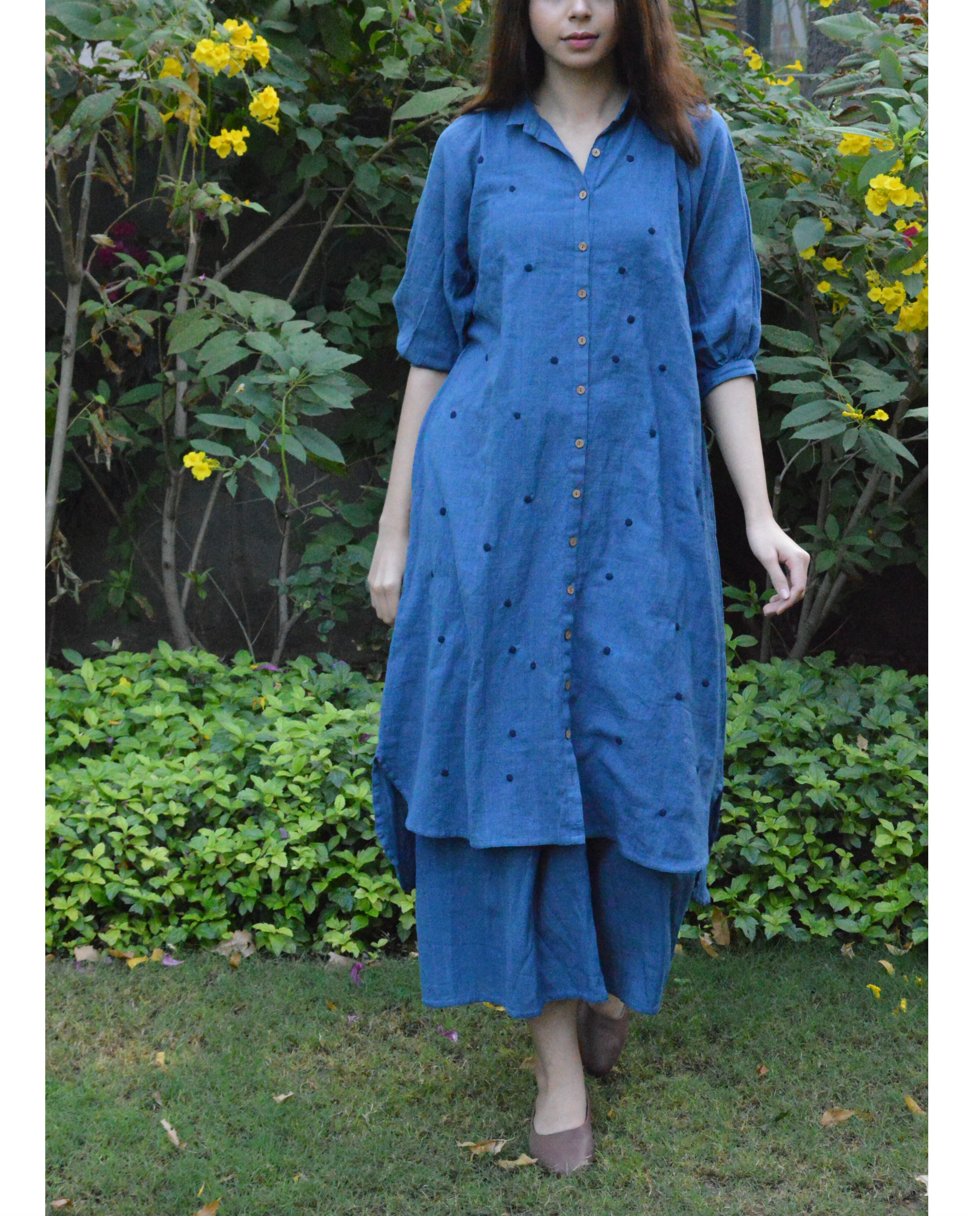 Indigo front button polka tunic