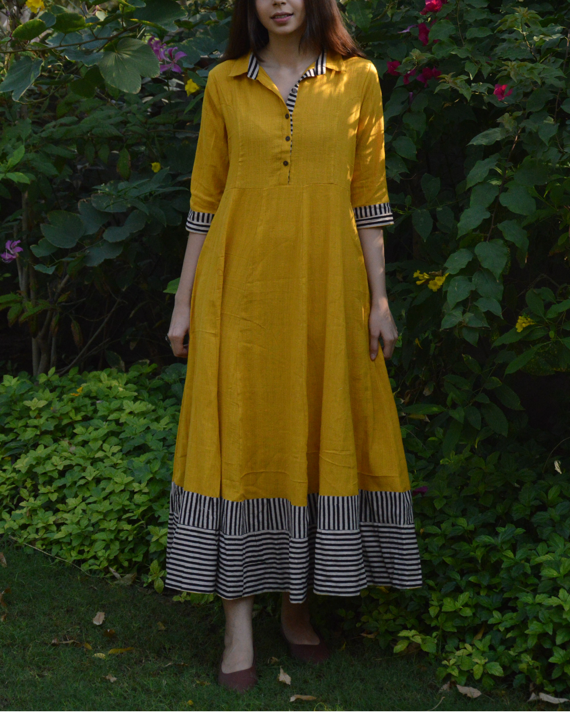 Mustard shirt waist flared maxi dress with striped borders