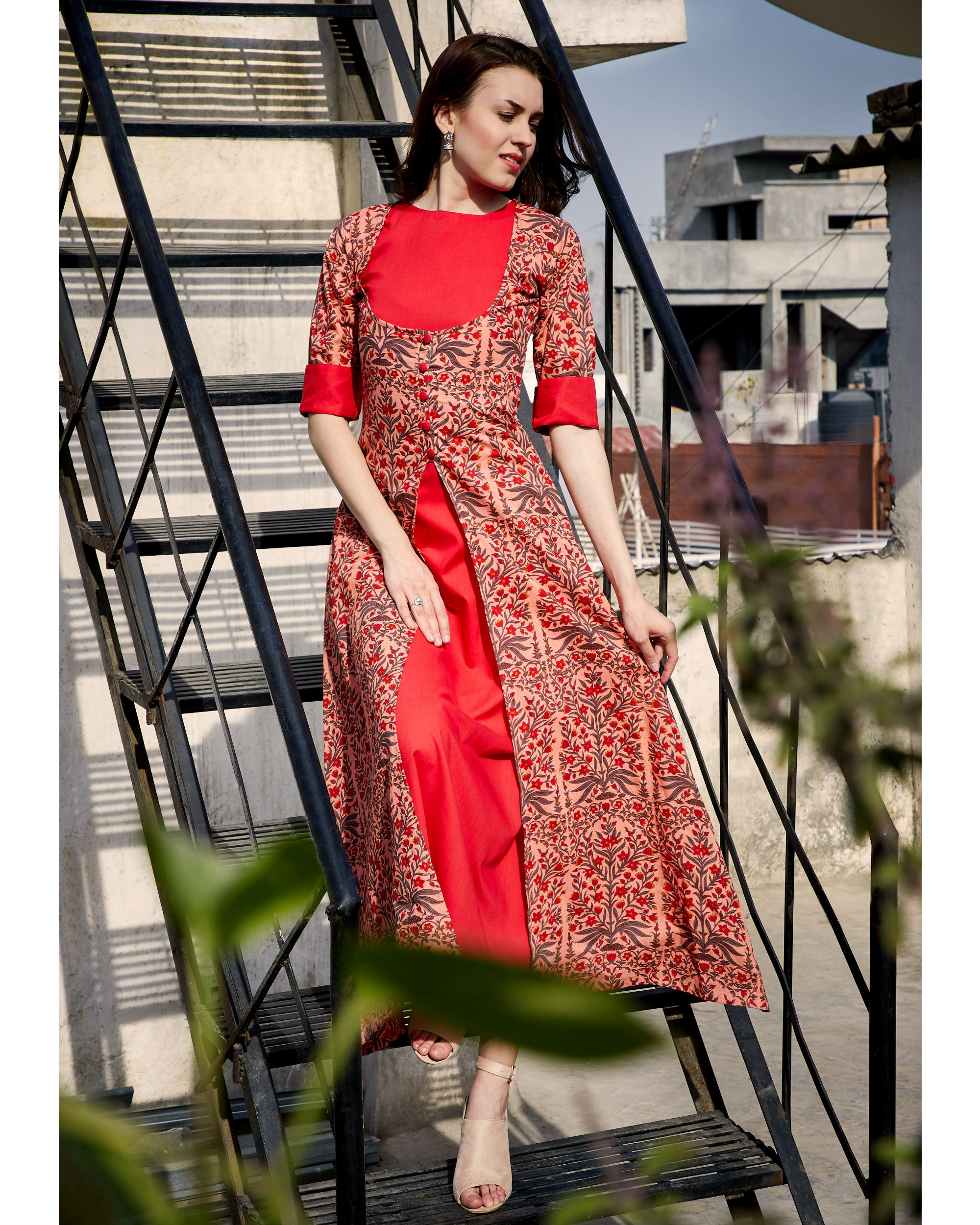 Printed double layered dress