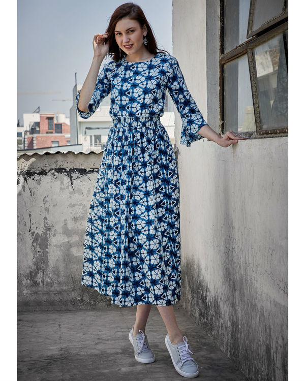 Pearl and blue gathered dress