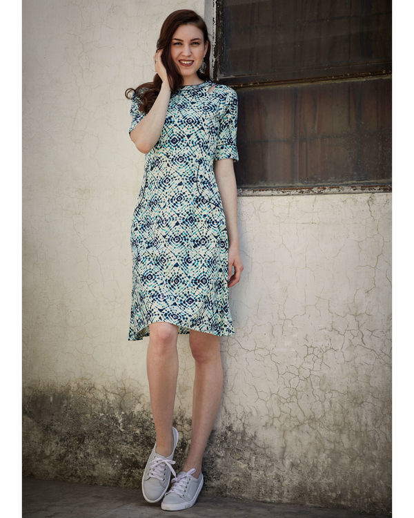 Printed blue side pocket dress