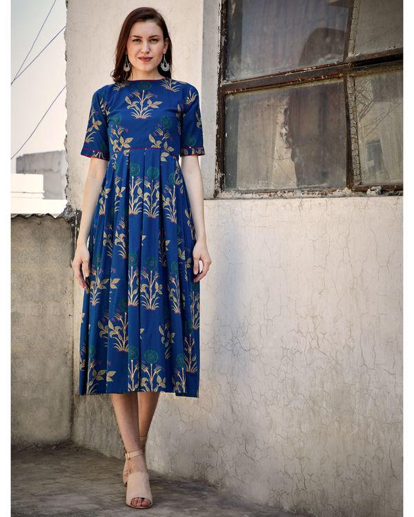 Blue printed flared dress