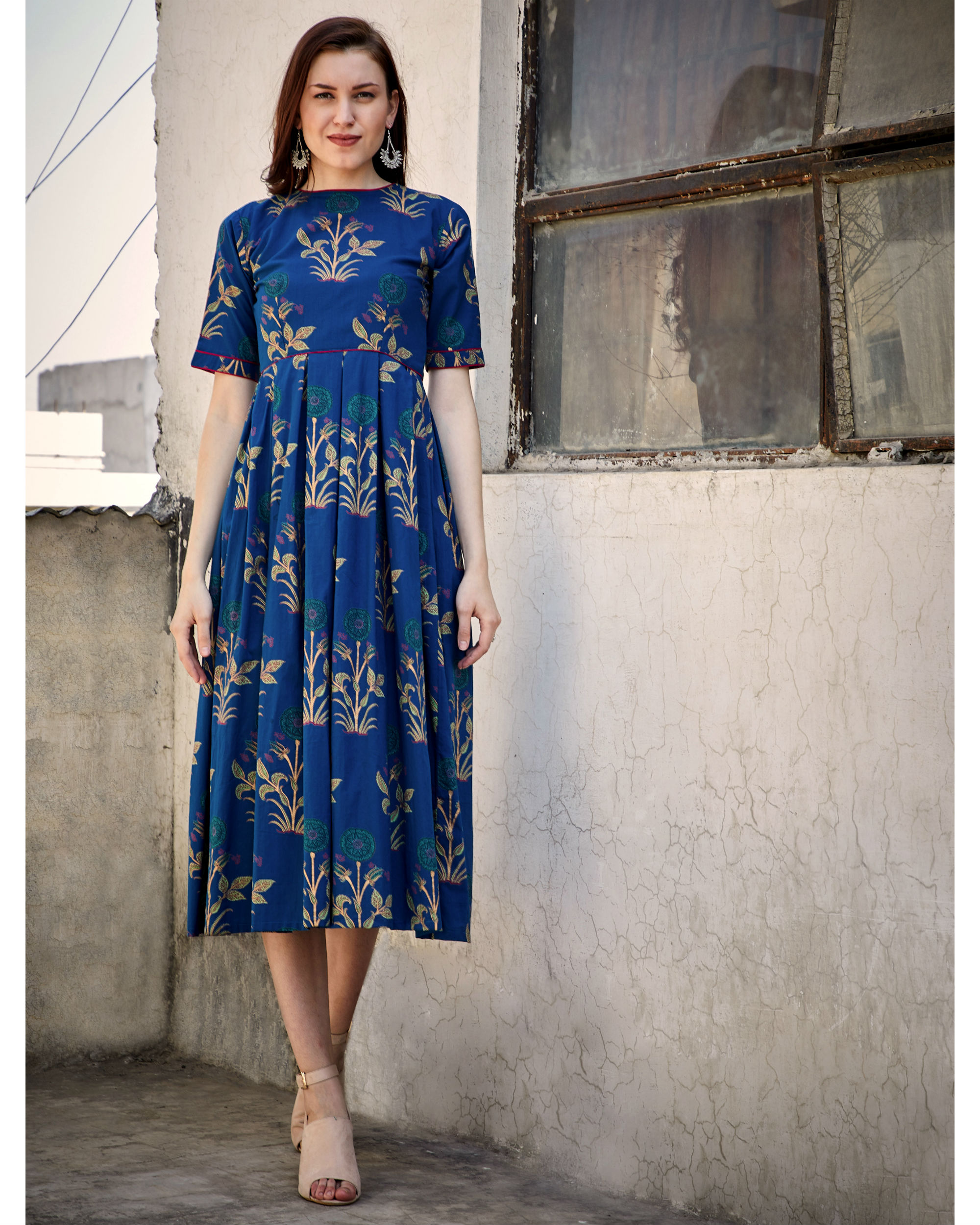 Blue printed flared dress