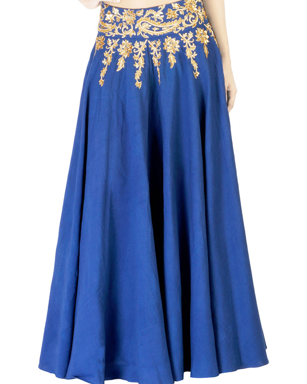 Blue embroidered  ball gown skirt with golden embroidery
