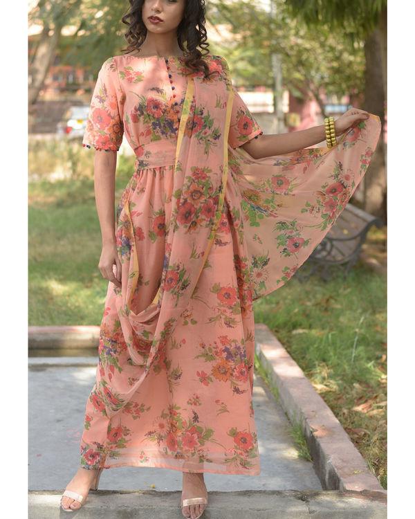 Peach drape dress