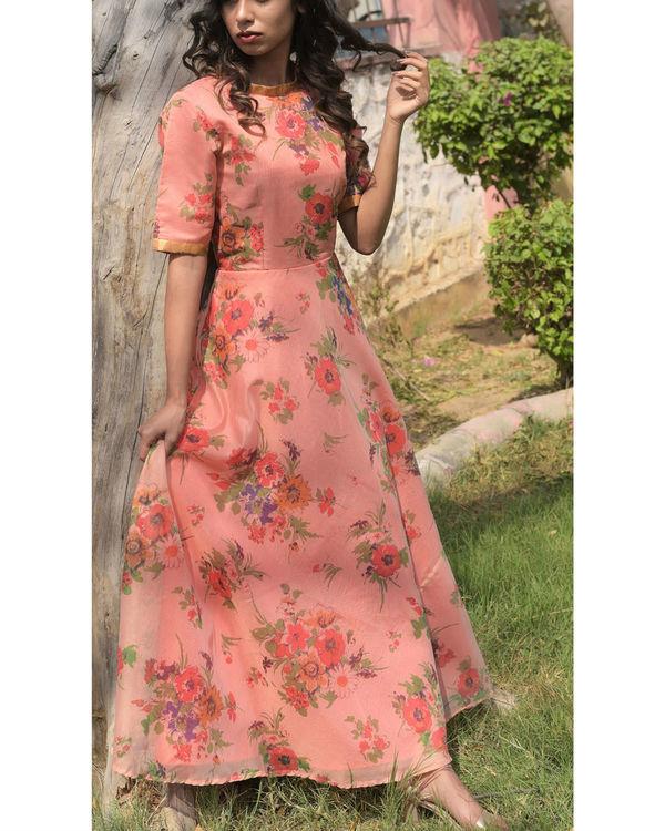 Peach printed dress