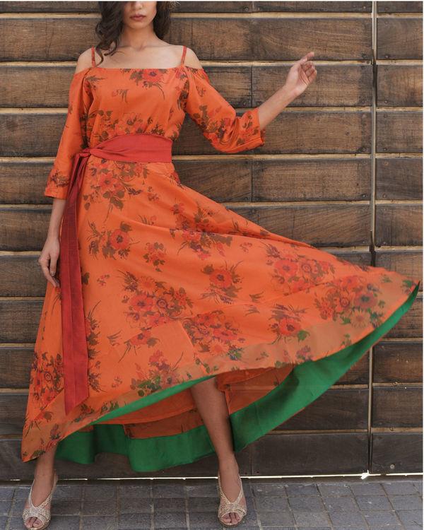 Rust assymetric dress