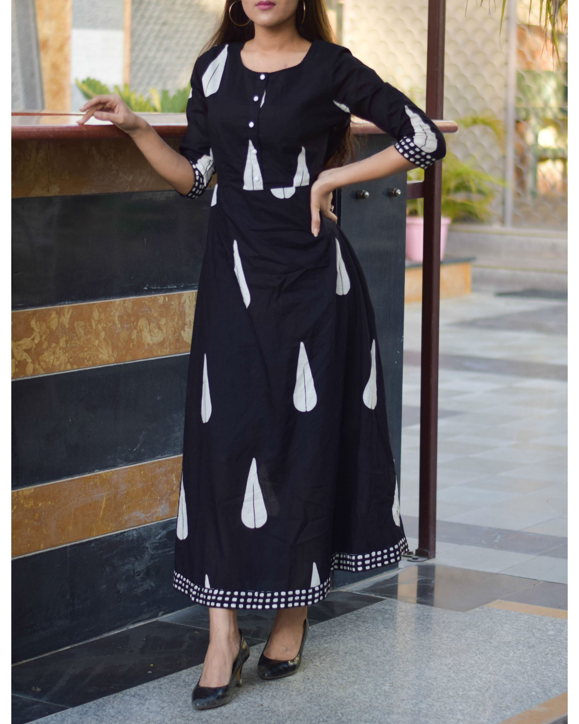 Black block printed long dress