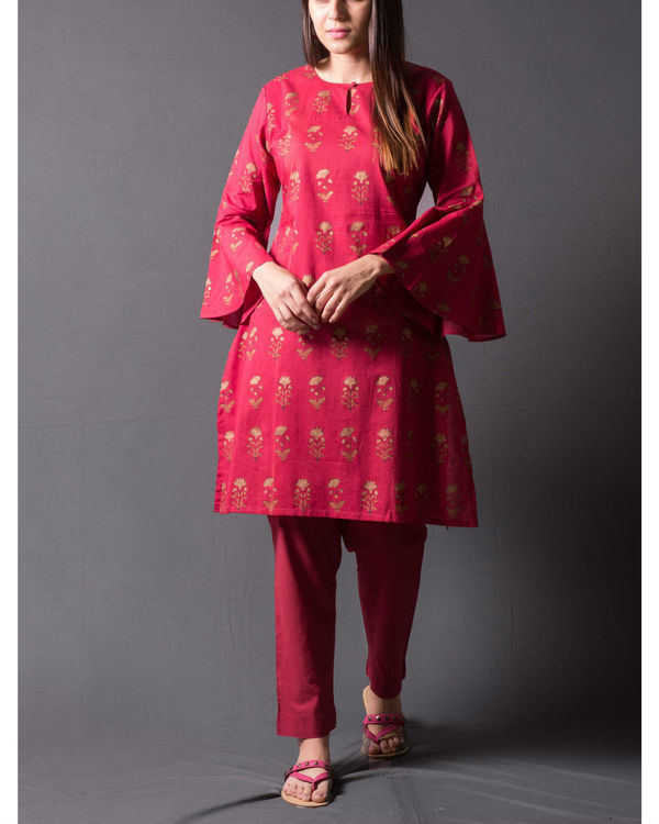 Maroon daisy block printed short kurta set