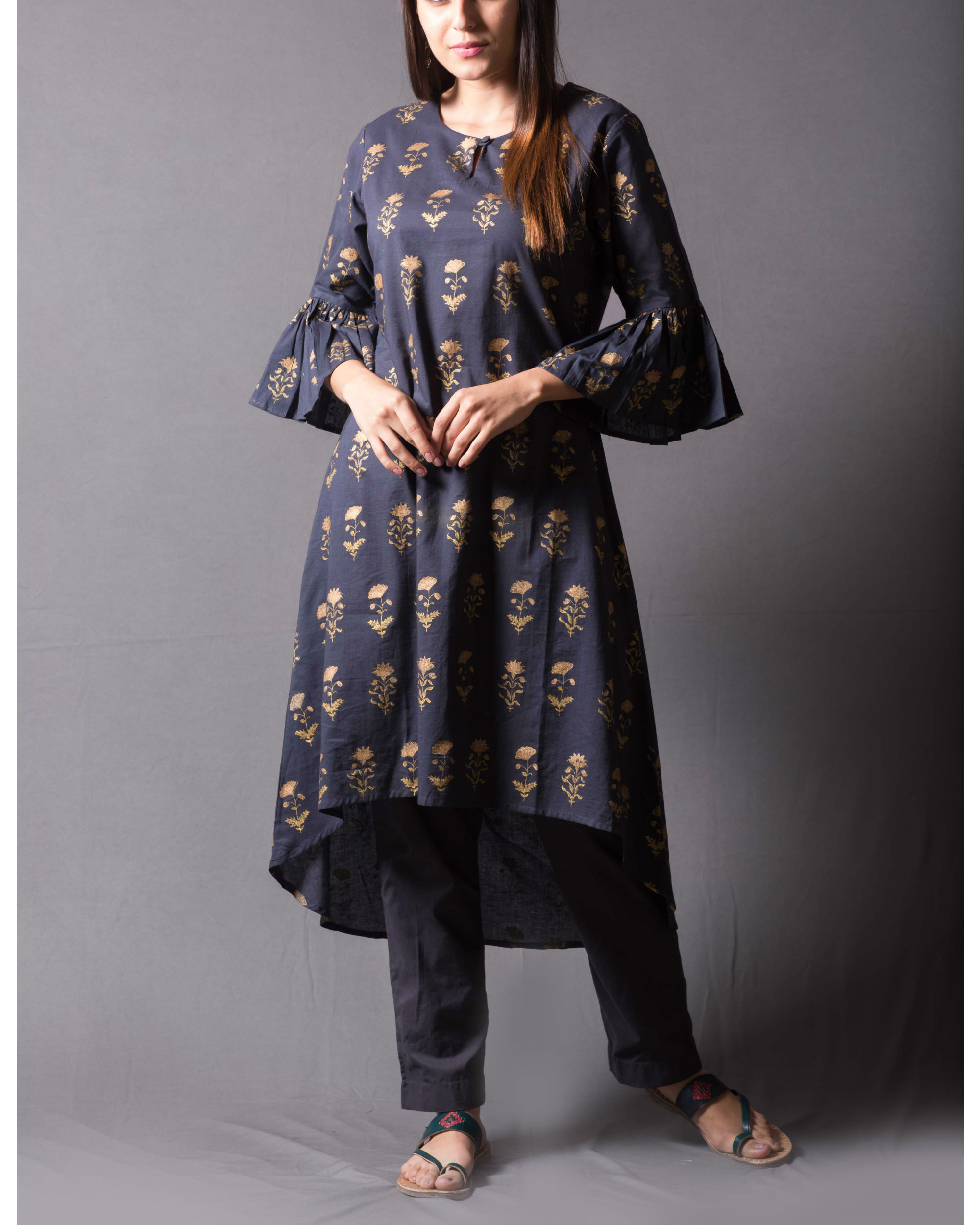 Grey block printed asymmetrical kurta set