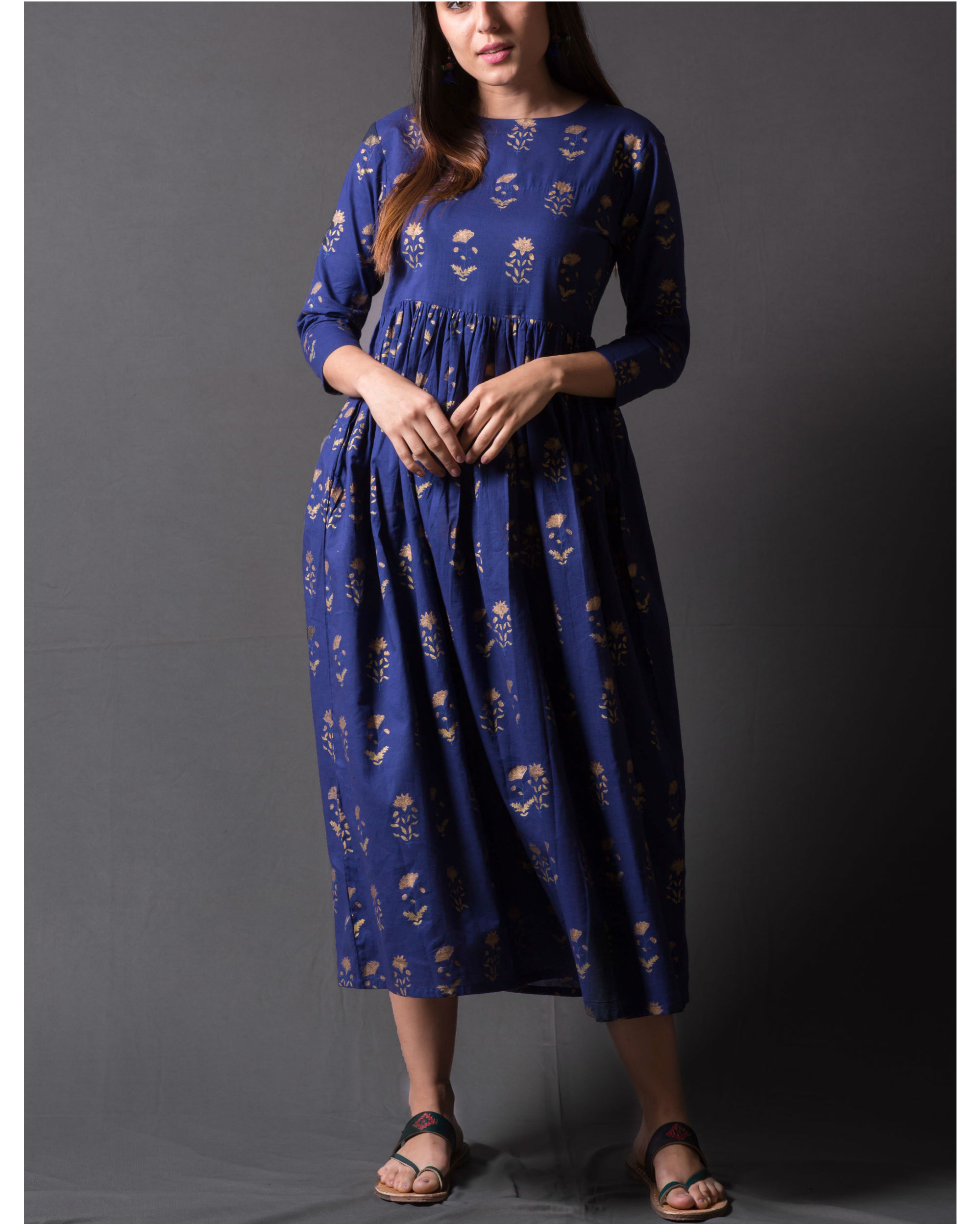 Navy blue daisy block printed dress