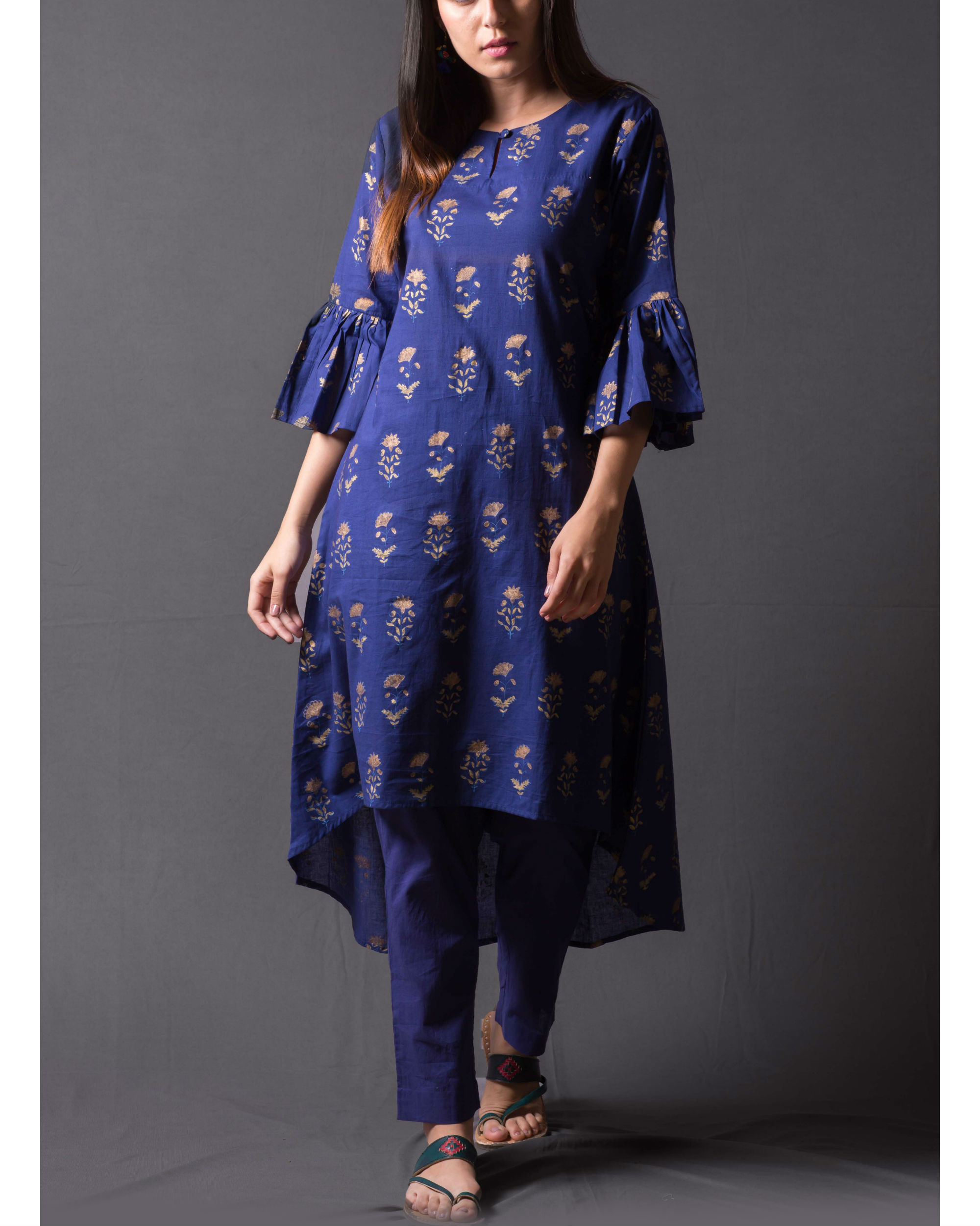Navy blue block printed asymmetrical kurta set
