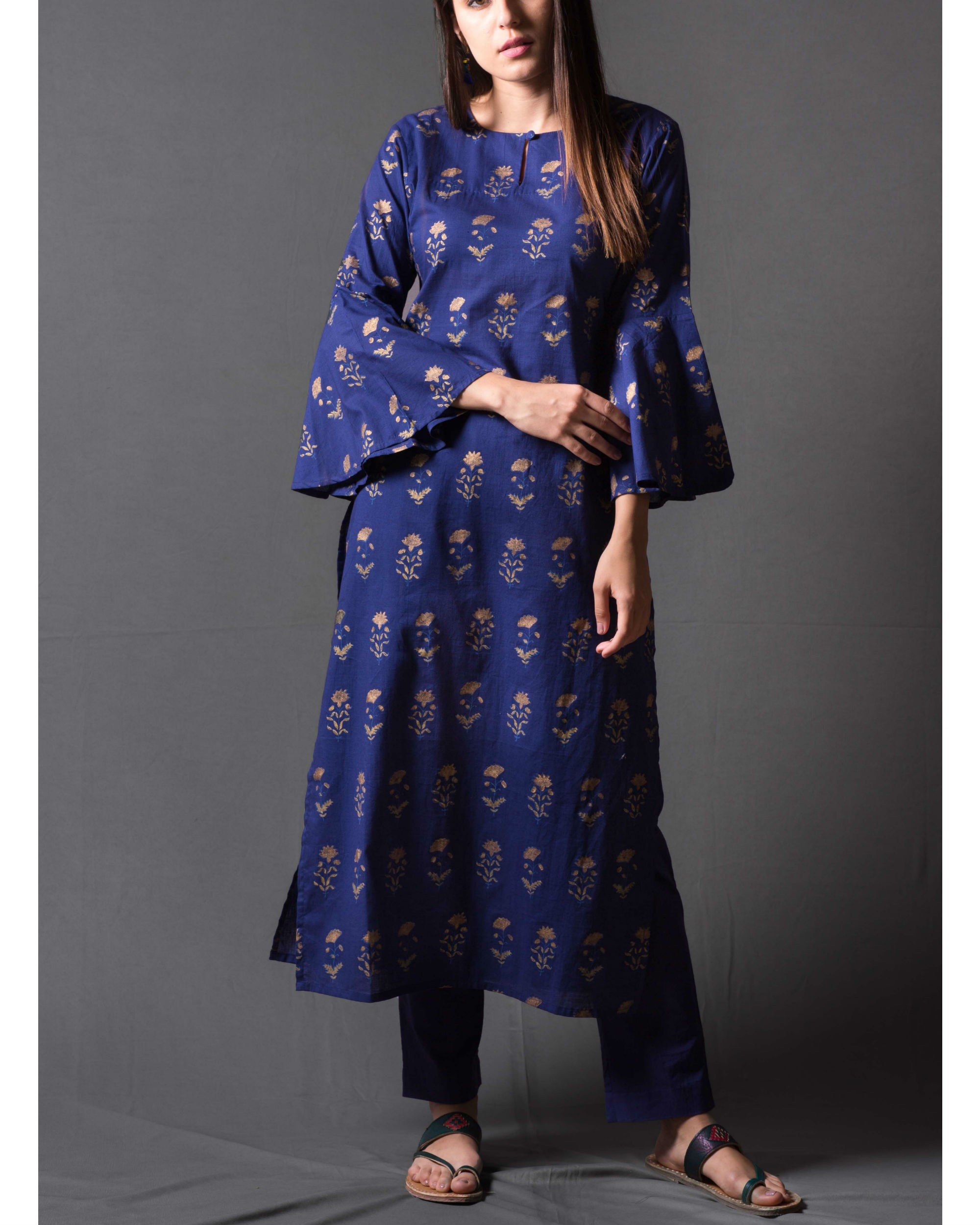 Navy blue block printed kurta set