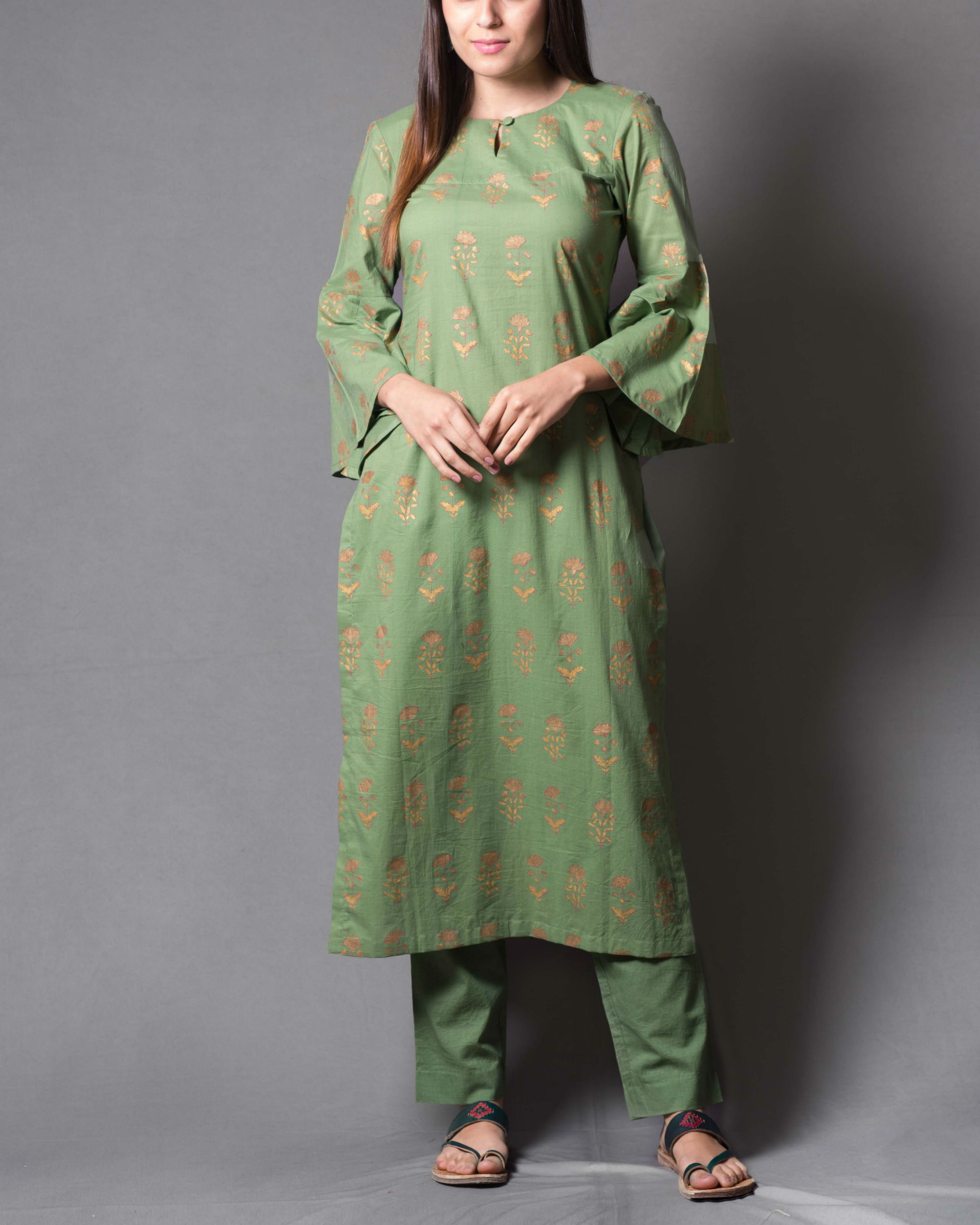 Green block printed kurta set