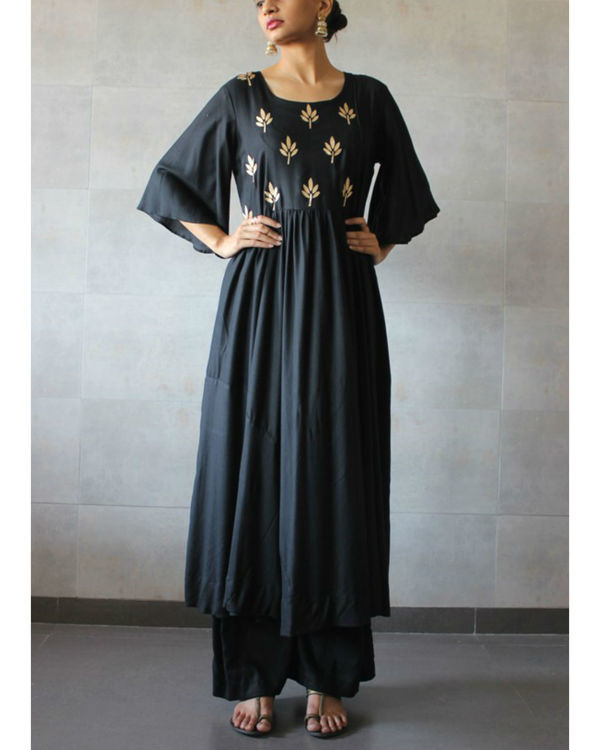 Black pleated kurta palazzo set