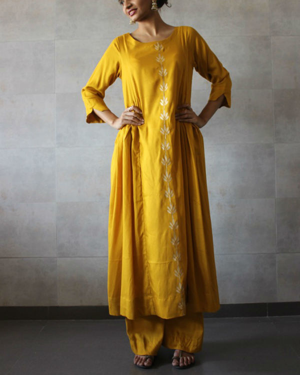 Mustard side pleated kurta palazzo set