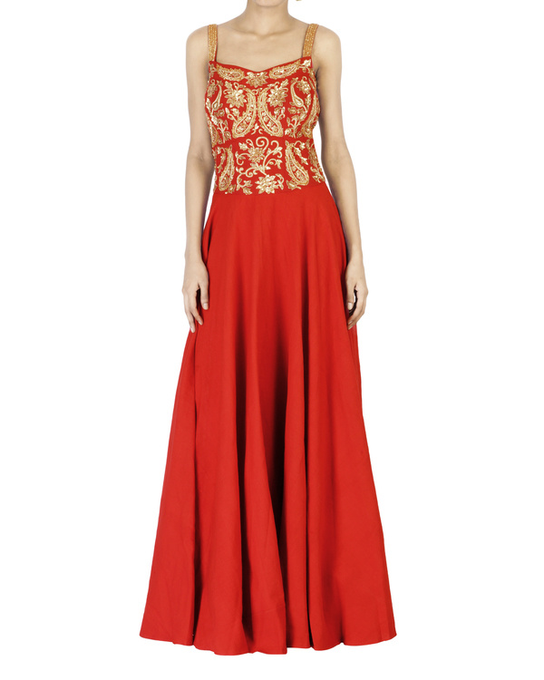 Red embroidered corset maxi dress