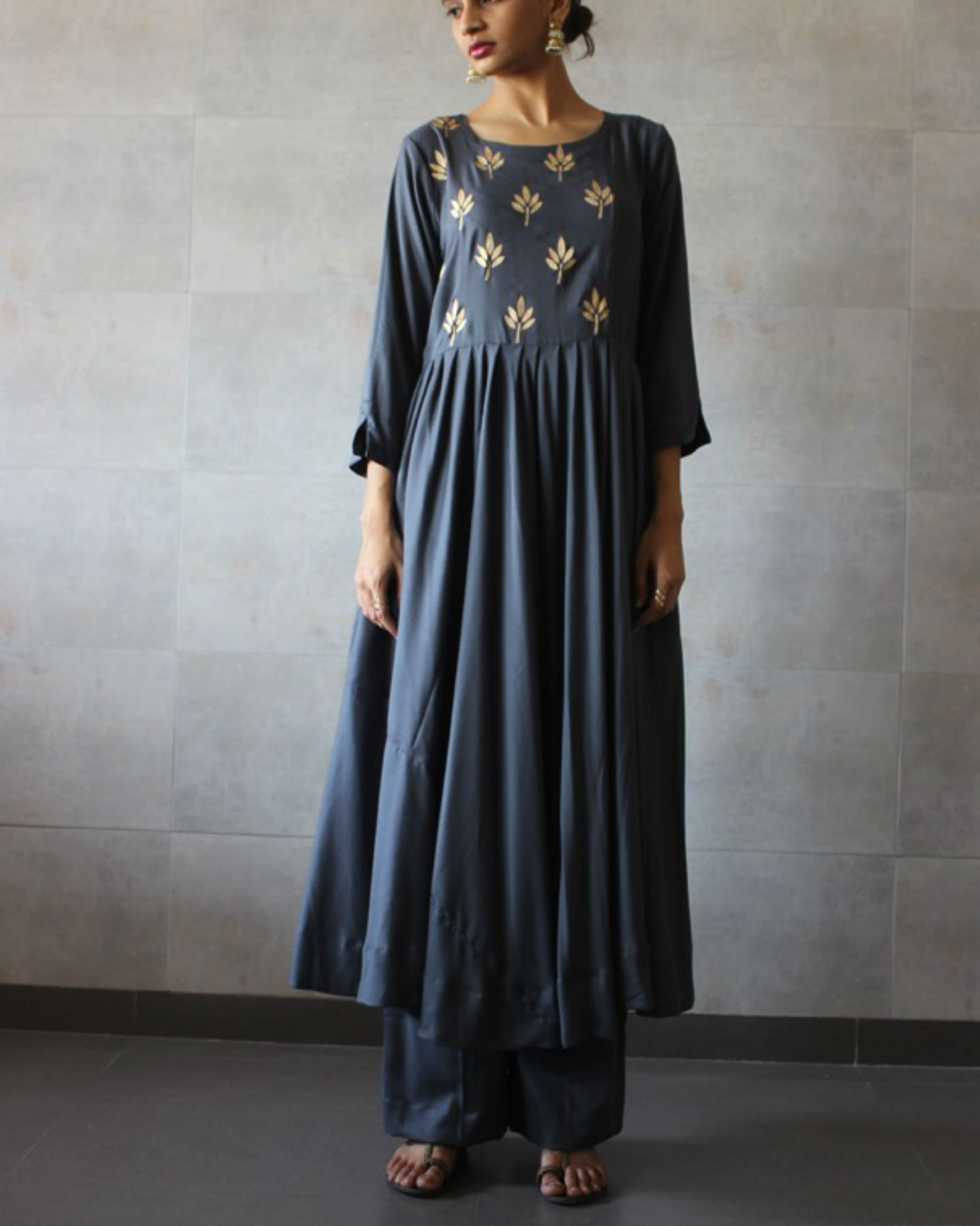 Charcoal pleated kurta palazzo set