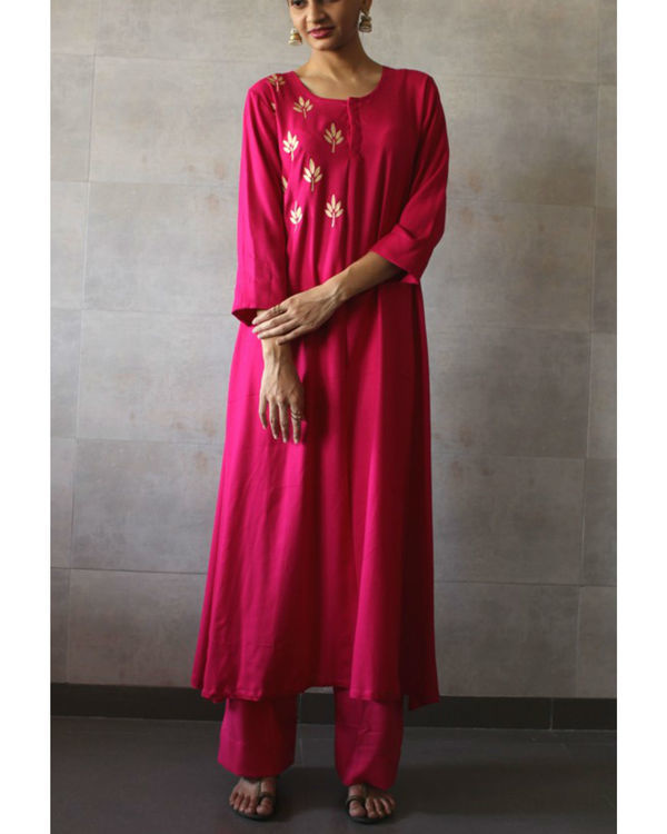 Hot pink straight kurta palazzo set
